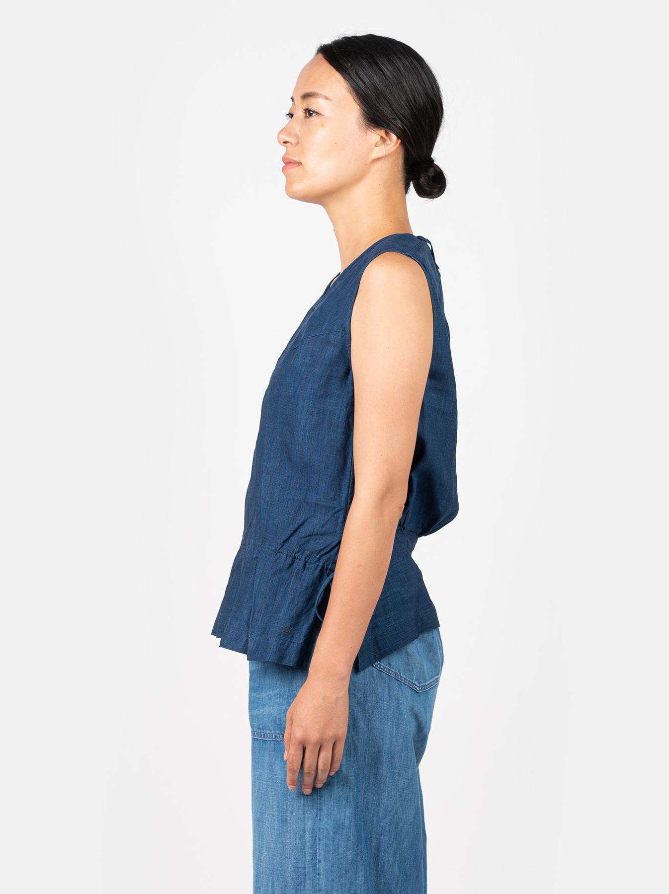 WH Indigo Linen Sleeveless Tuck Blouse-3
