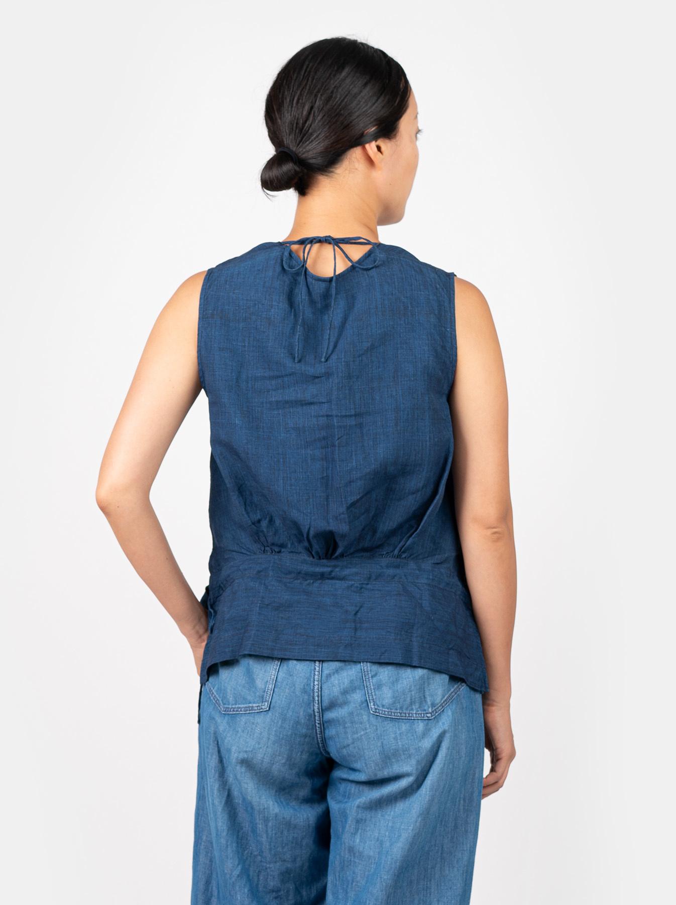 WH Indigo Linen Sleeveless Tuck Blouse-4