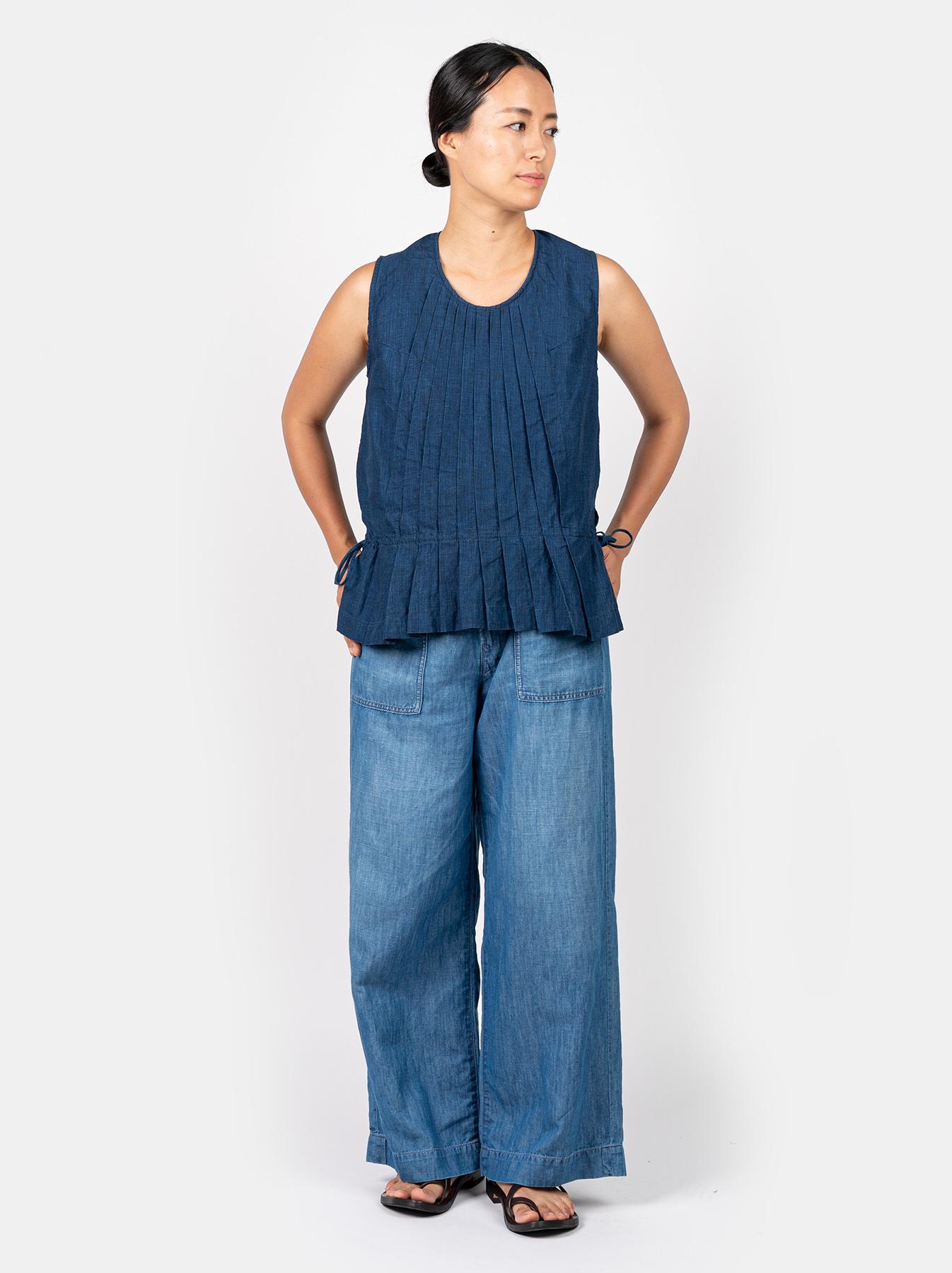 WH Indigo Linen Sleeveless Tuck Blouse-5