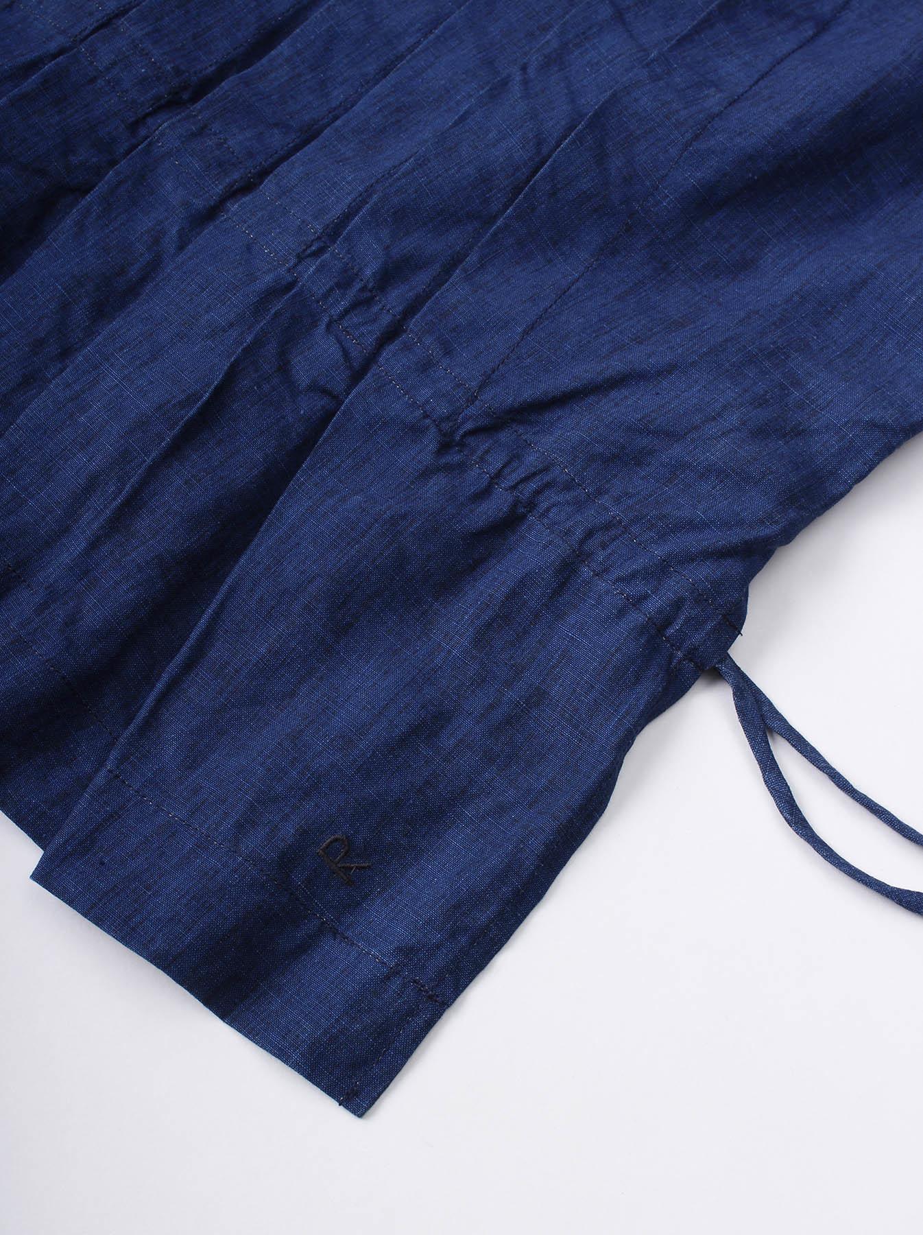 WH Indigo Linen Sleeveless Tuck Blouse-6