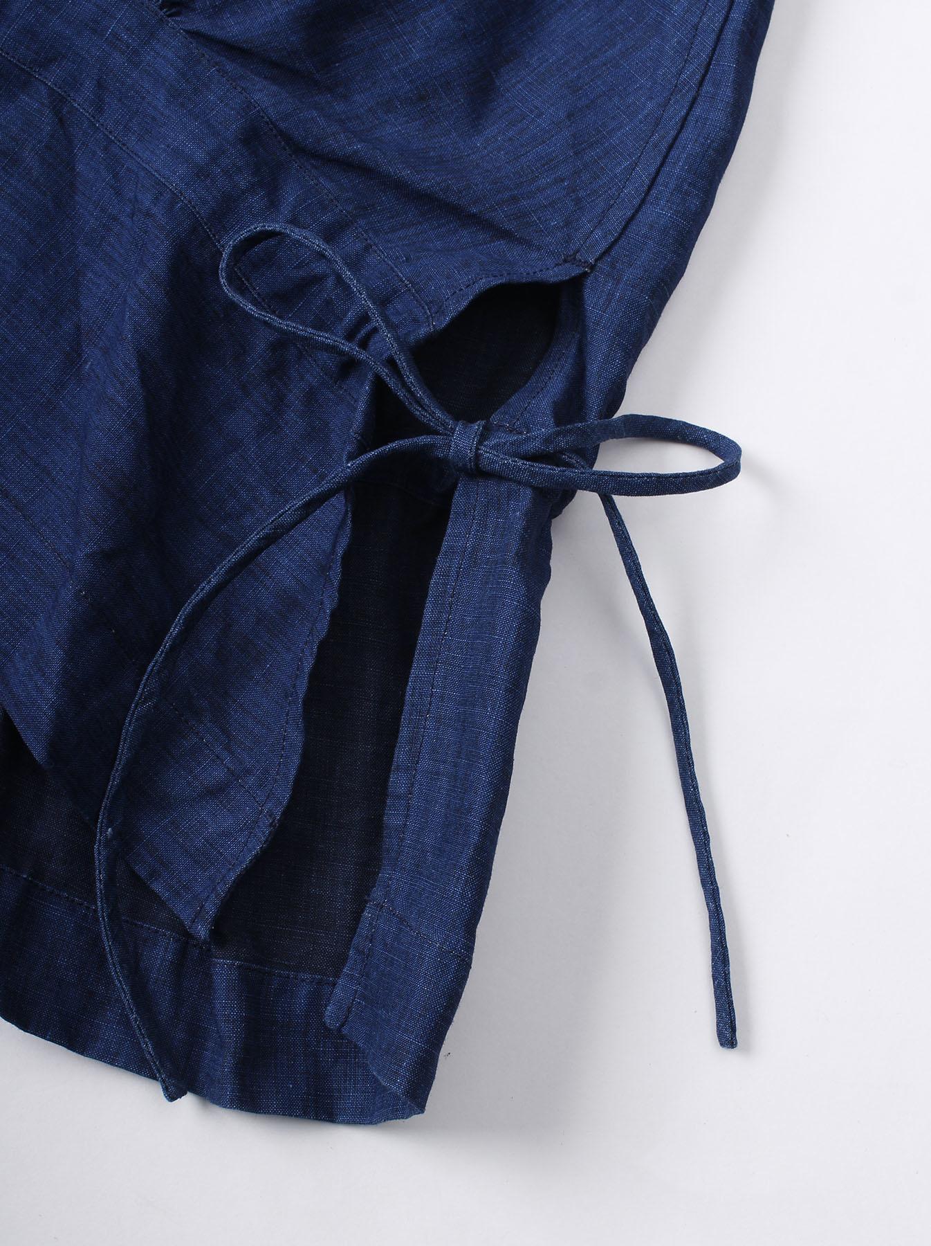 WH Indigo Linen Sleeveless Tuck Blouse-7