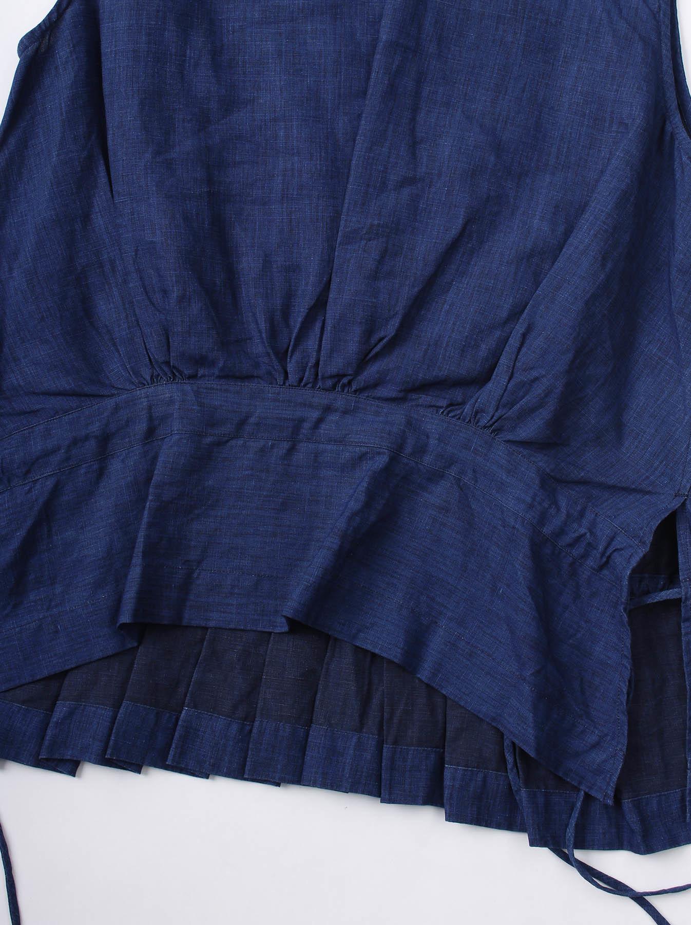 WH Indigo Linen Sleeveless Tuck Blouse-8