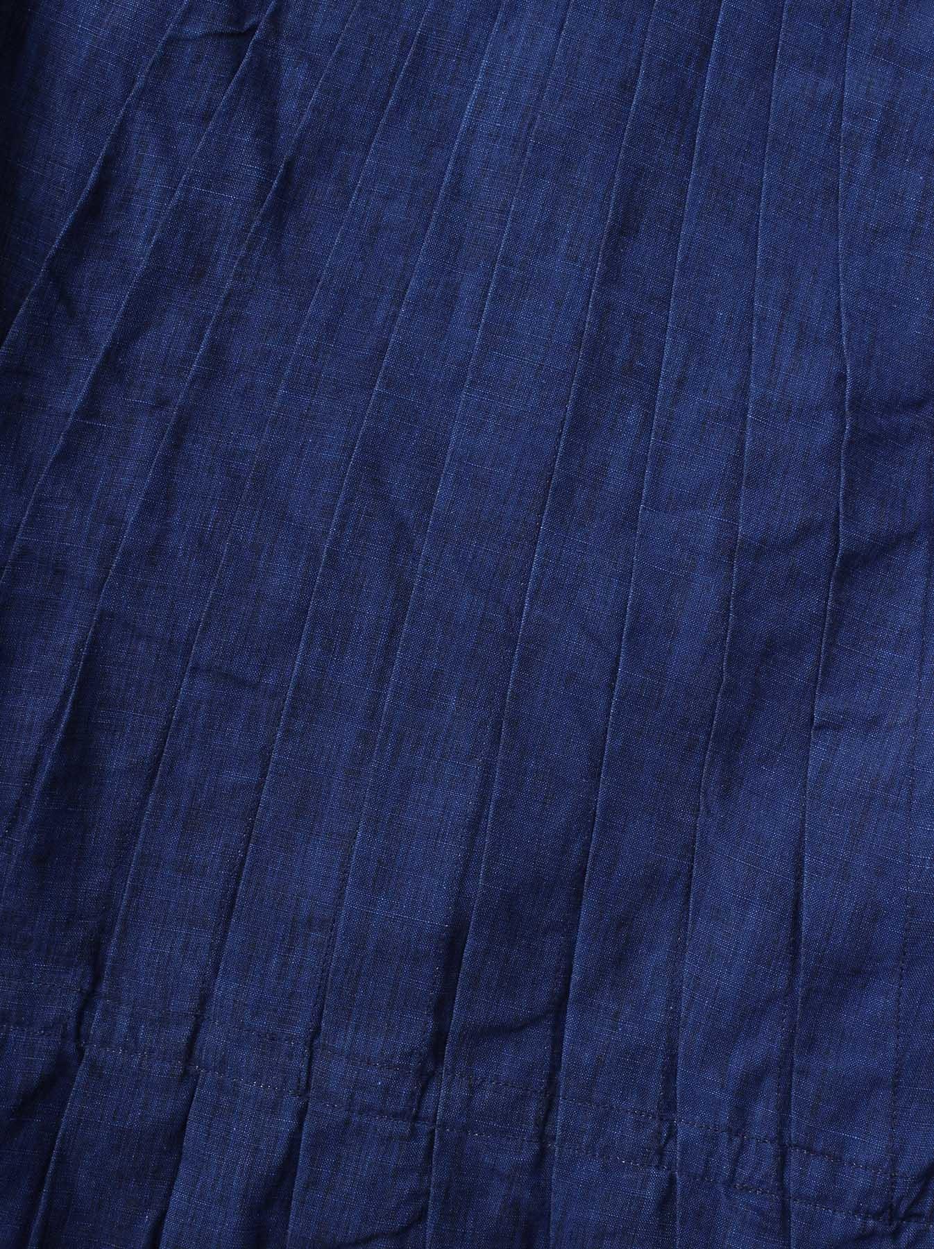 WH Indigo Linen Sleeveless Tuck Blouse-9