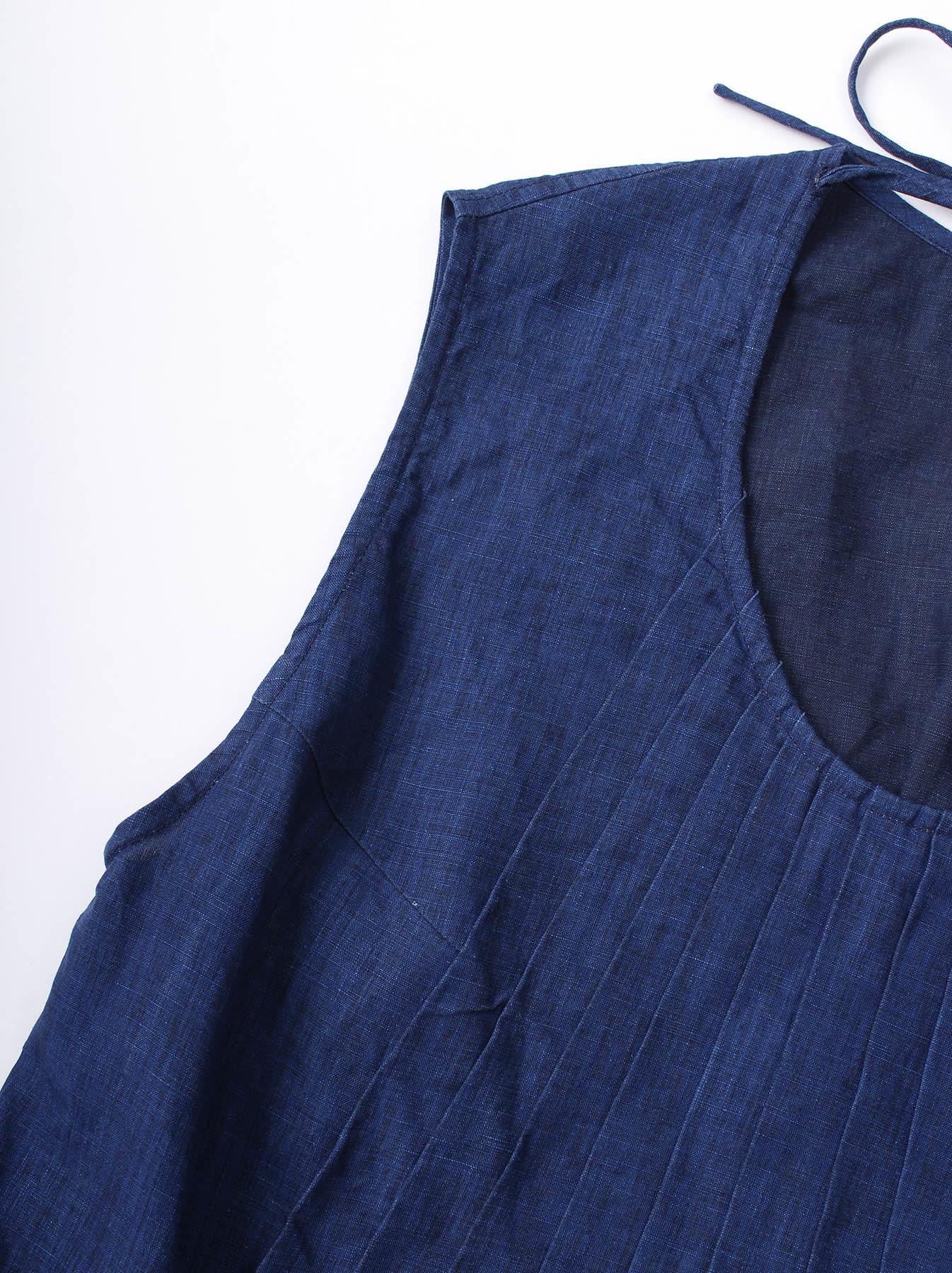 WH Indigo Linen Sleeveless Tuck Blouse-10
