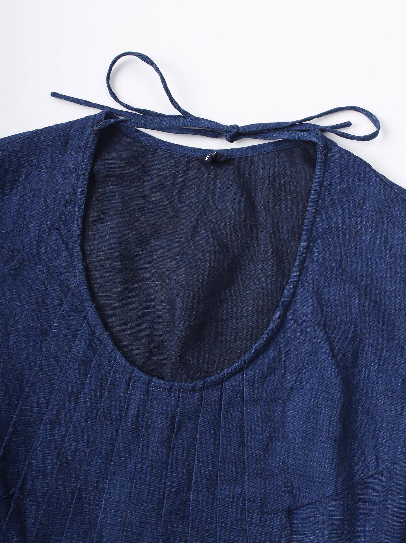WH Indigo Linen Sleeveless Tuck Blouse-11