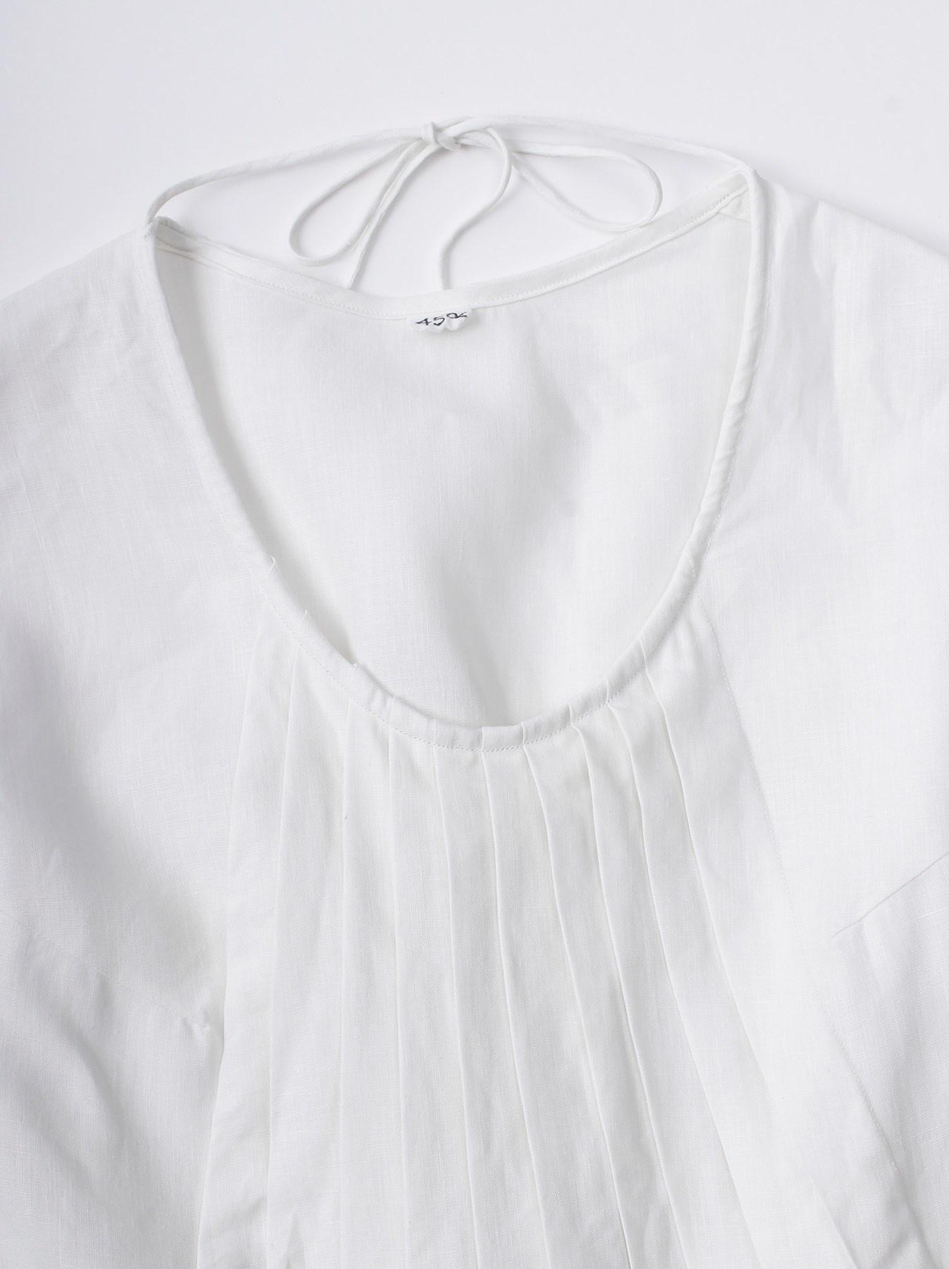 WH Linen Sleeveless Tuck Dress-5