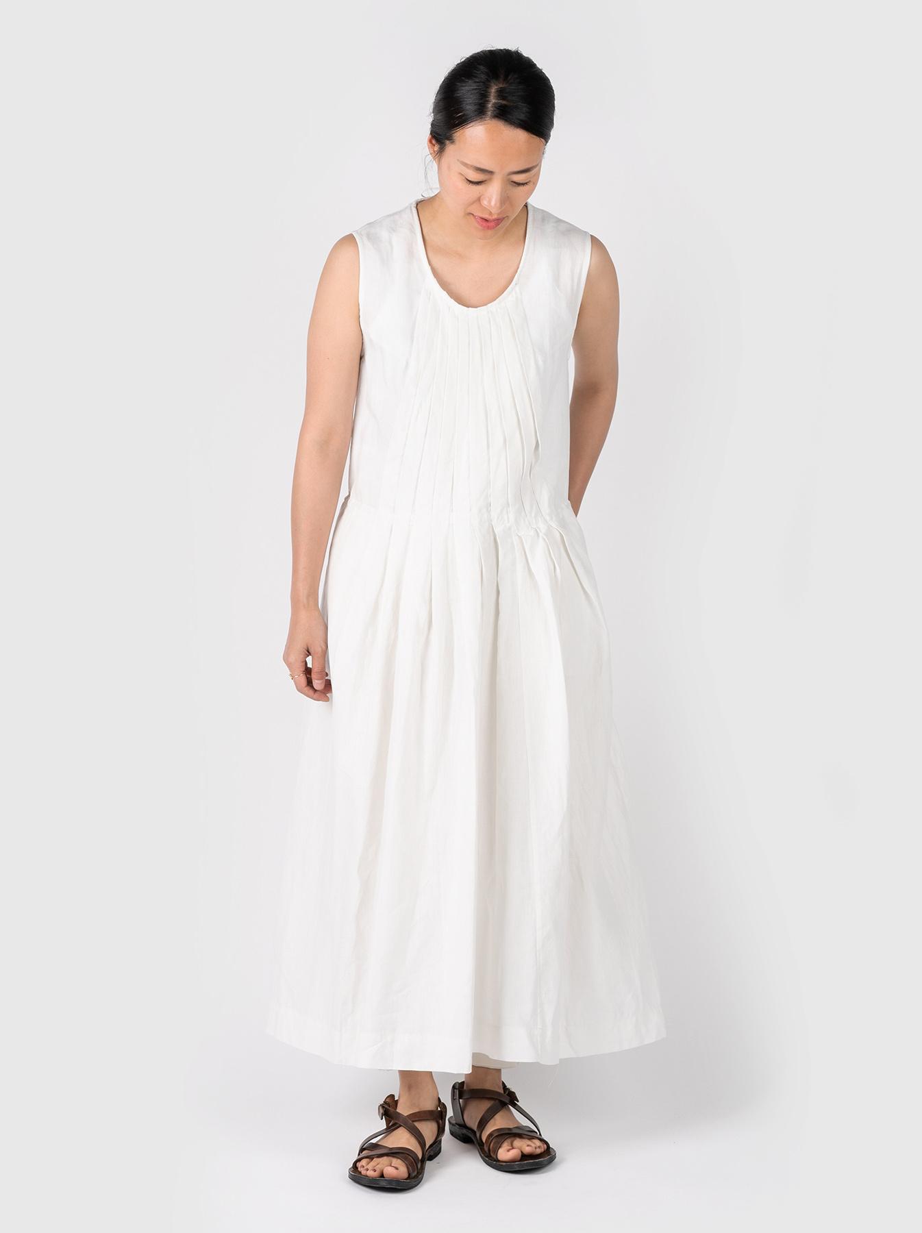 WH Linen Sleeveless Tuck Dress-2