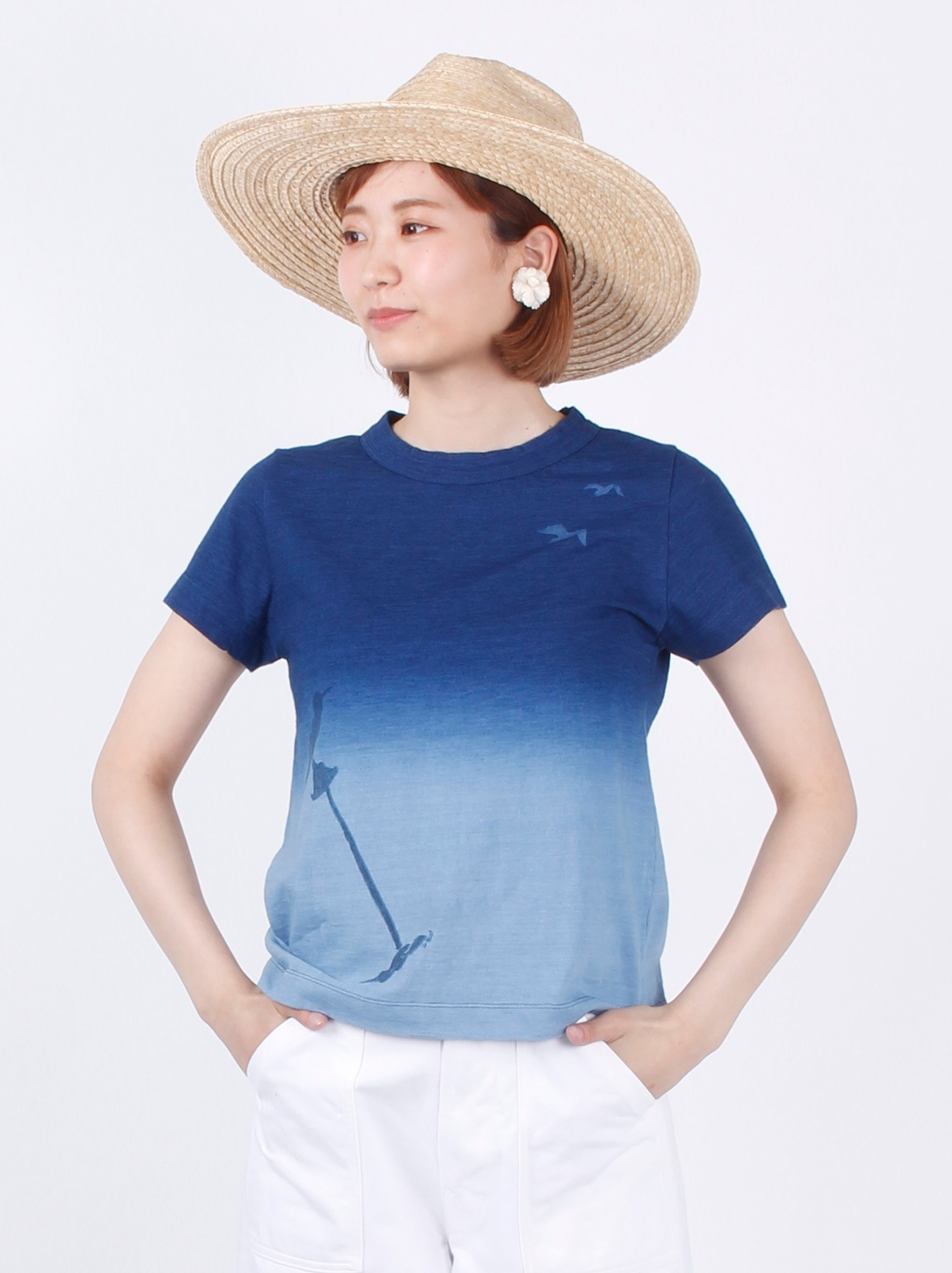 WH Indigo Ukiyo-e Break 45 Star T-shirt (Womens)-3
