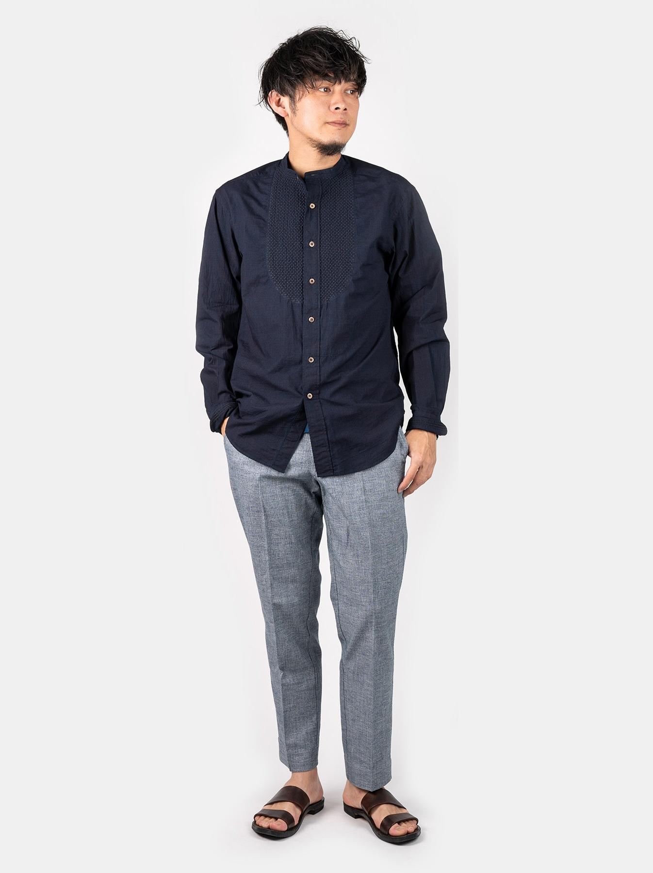 WH Indigo Sheet Cloth Sashiko Shirt-2