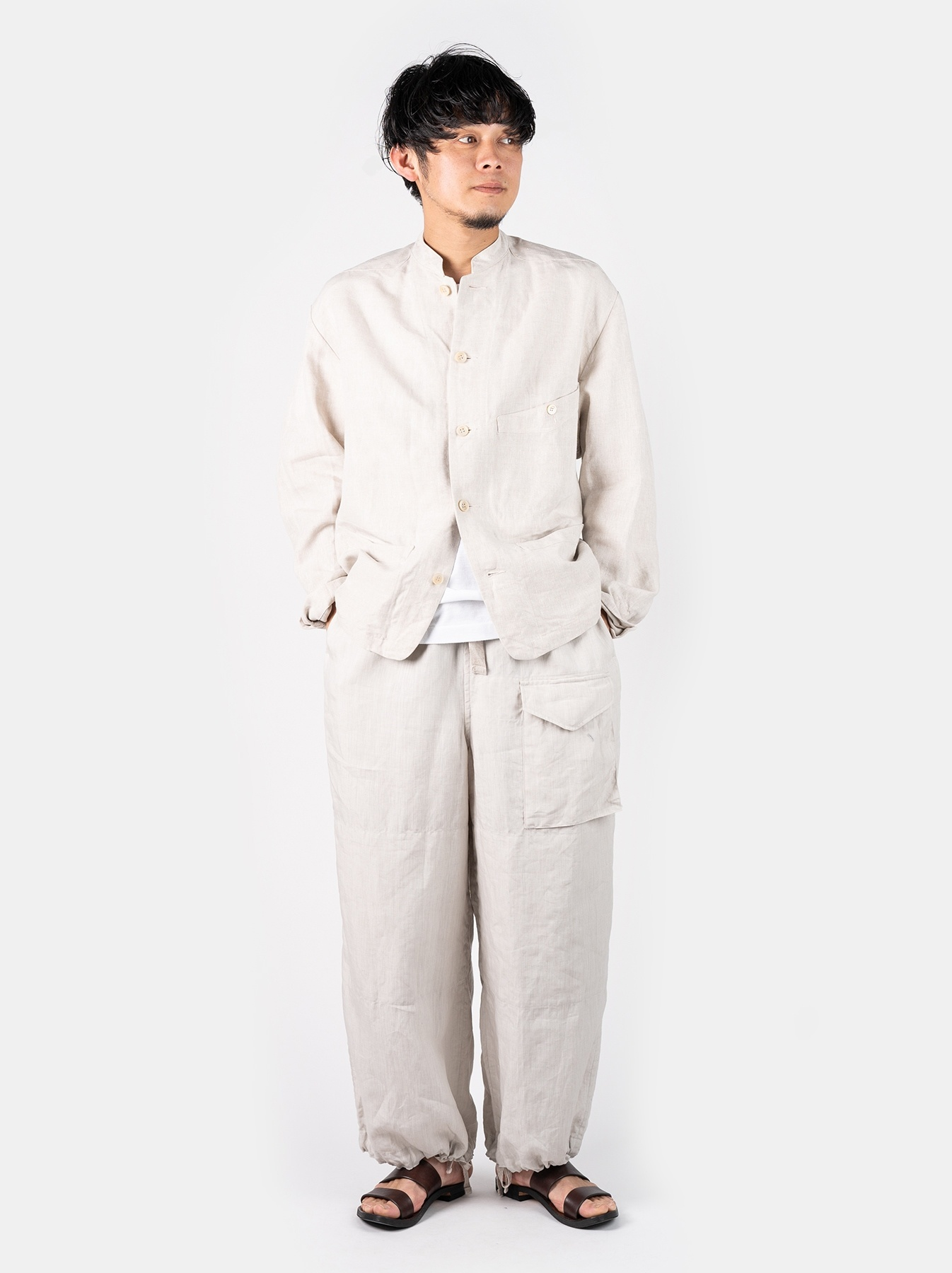 WH Linen Stand Collar Jacket-2