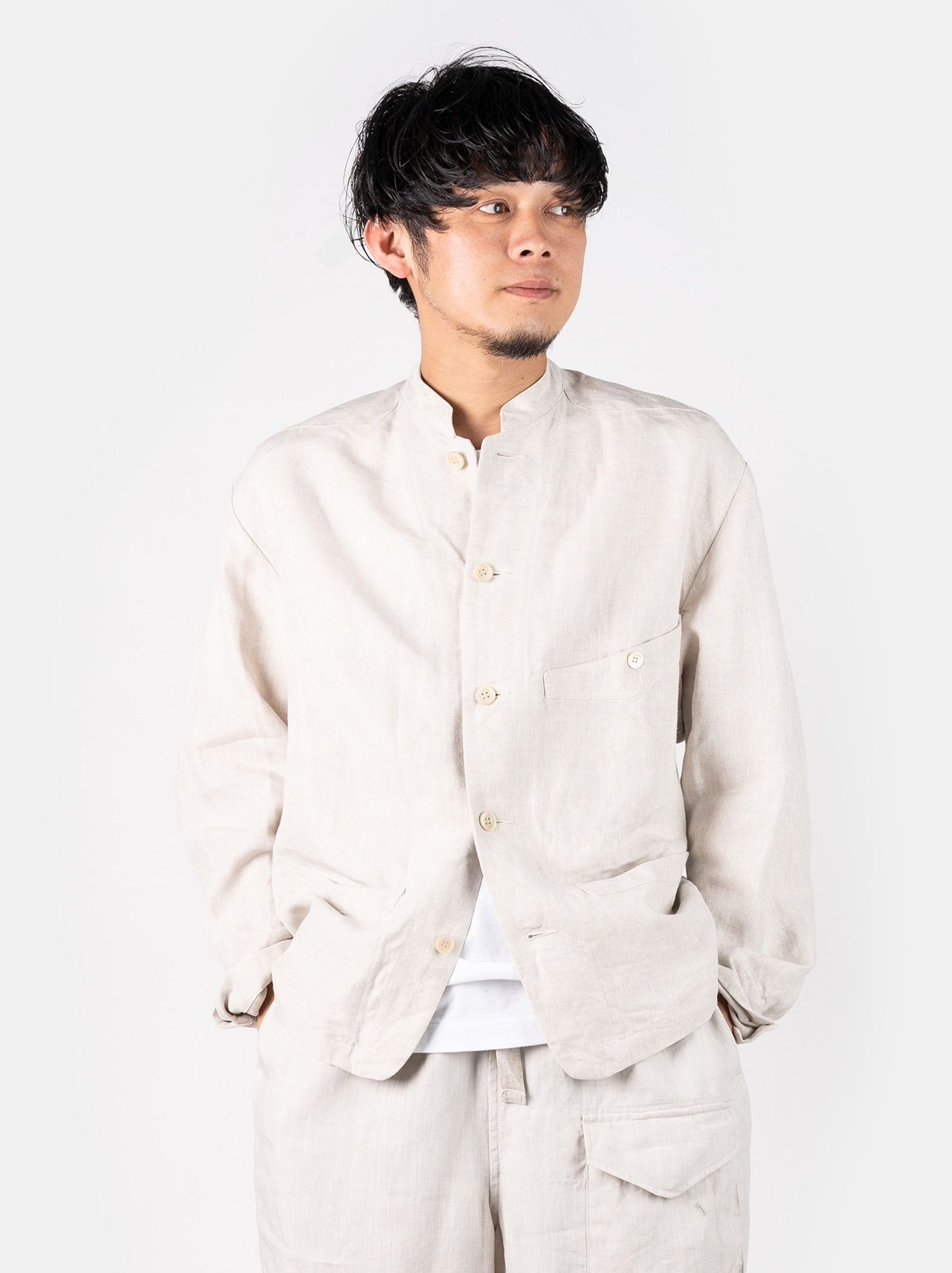 WH Linen Stand Collar Jacket-3