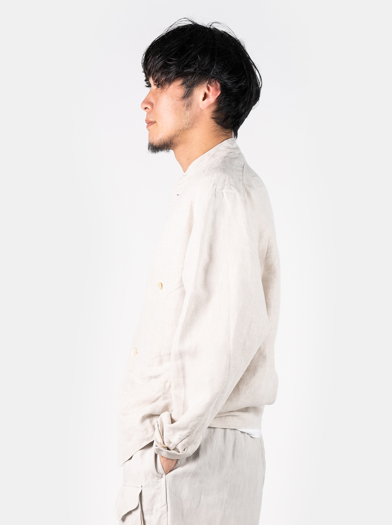 WH Linen Stand Collar Jacket-4