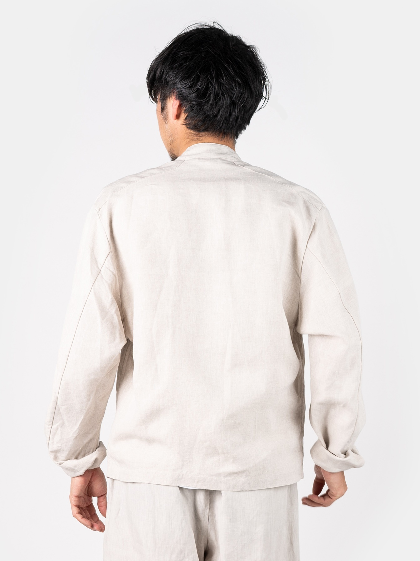 WH Linen Stand Collar Jacket-5