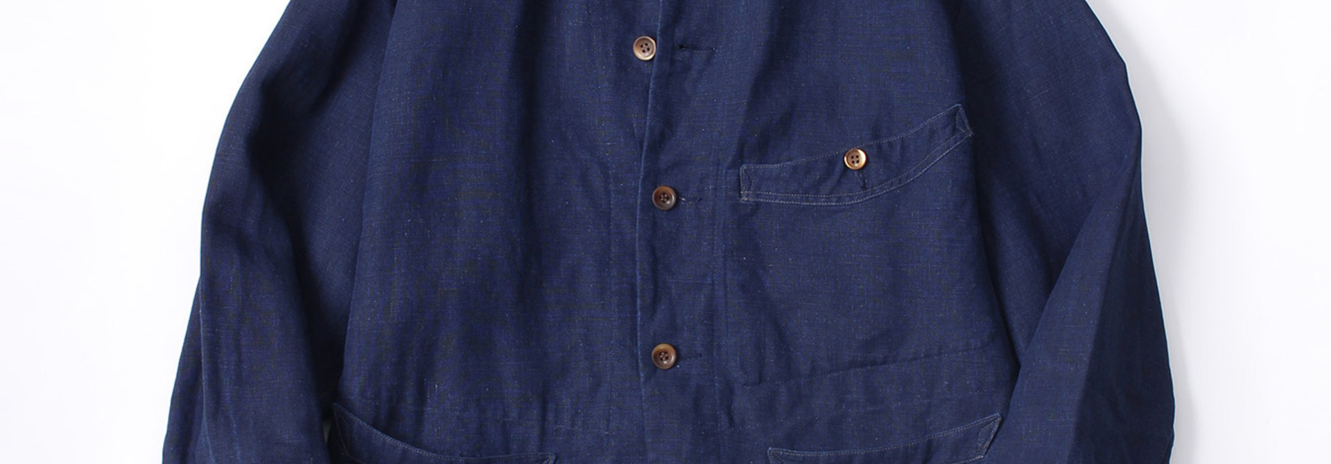 WH Indigo Linen Stand Collar Jacket