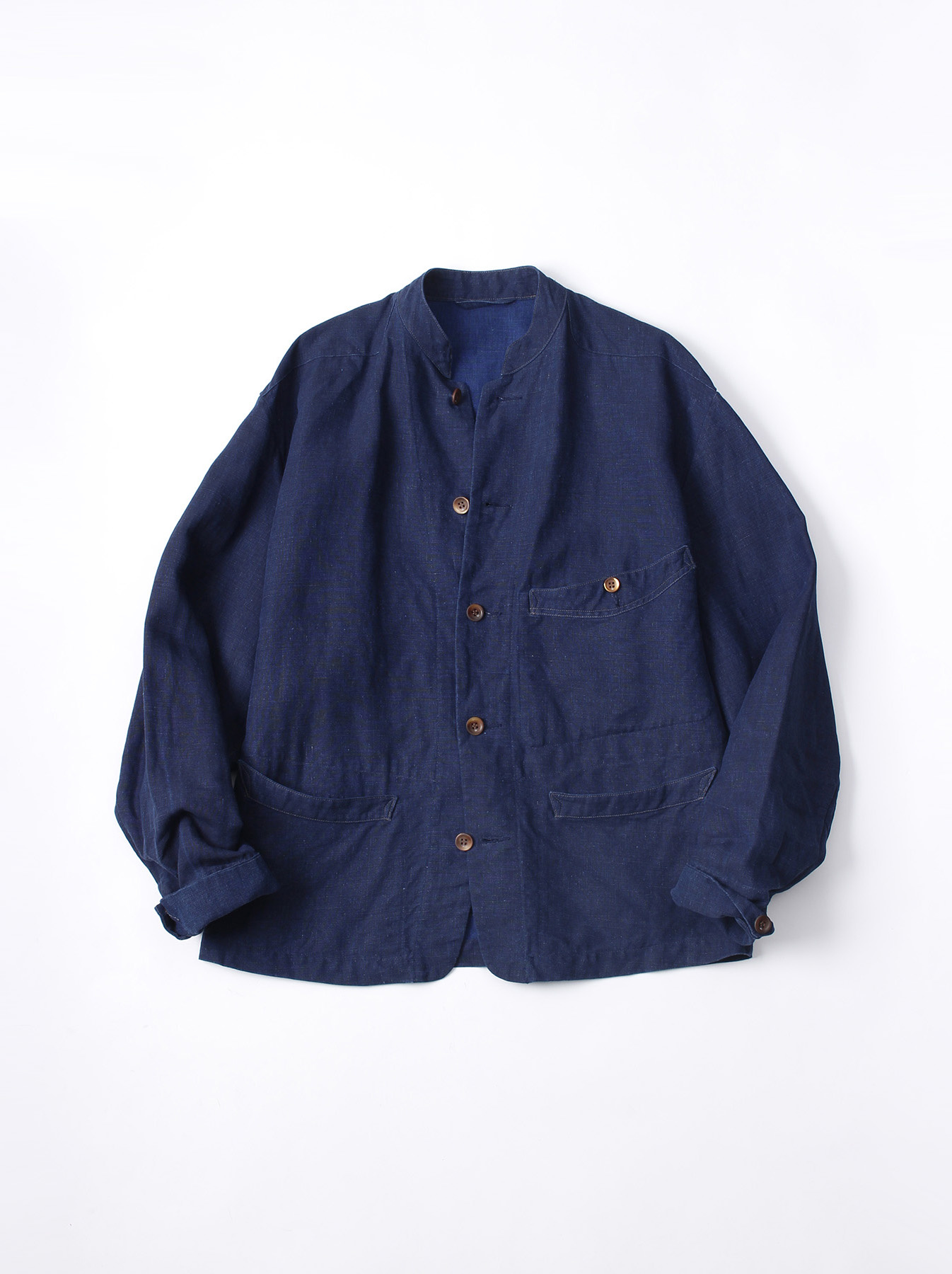 WH Indigo Linen Stand Collar Jacket-1