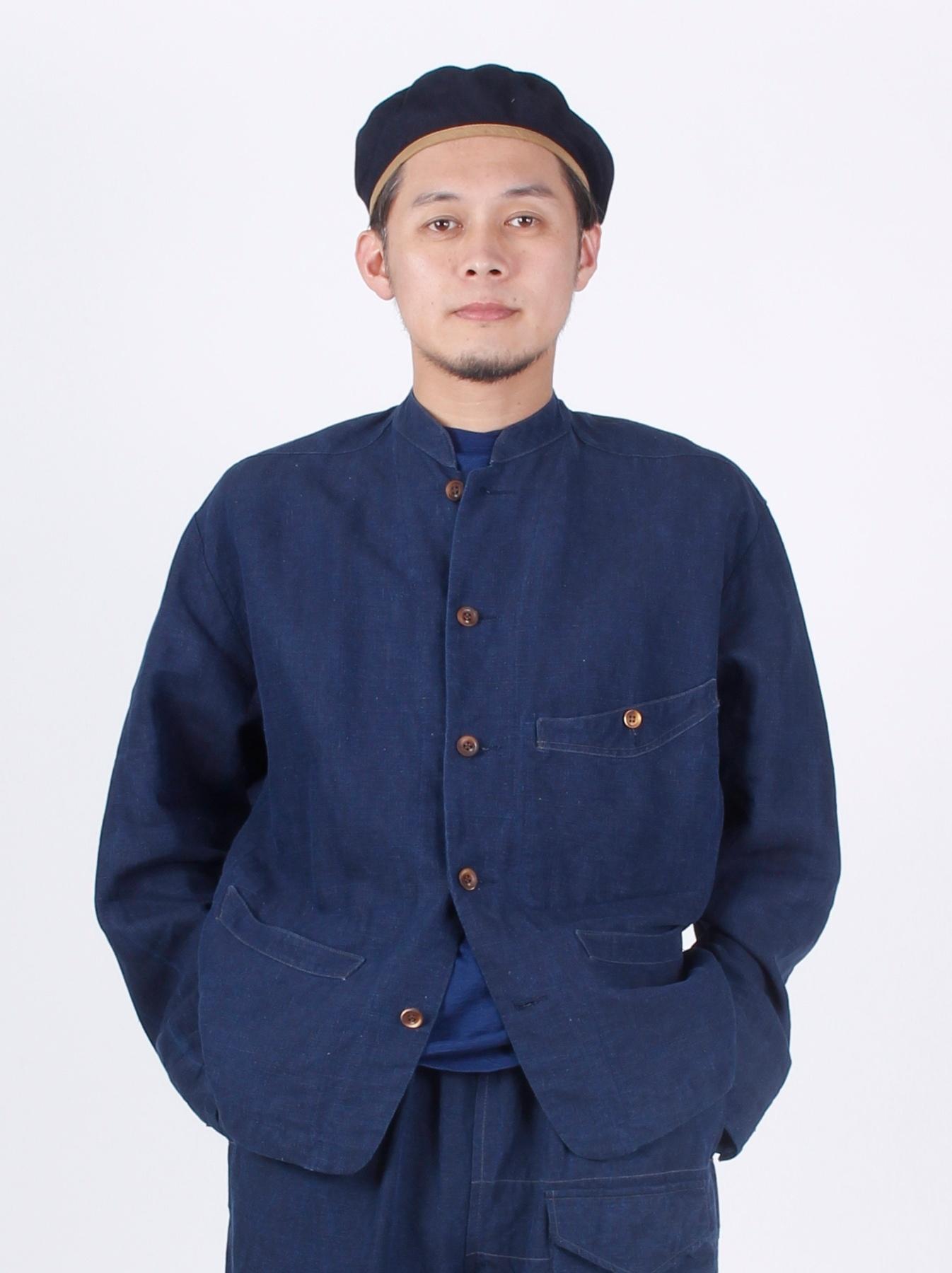 WH Indigo Linen Stand Collar Jacket-3
