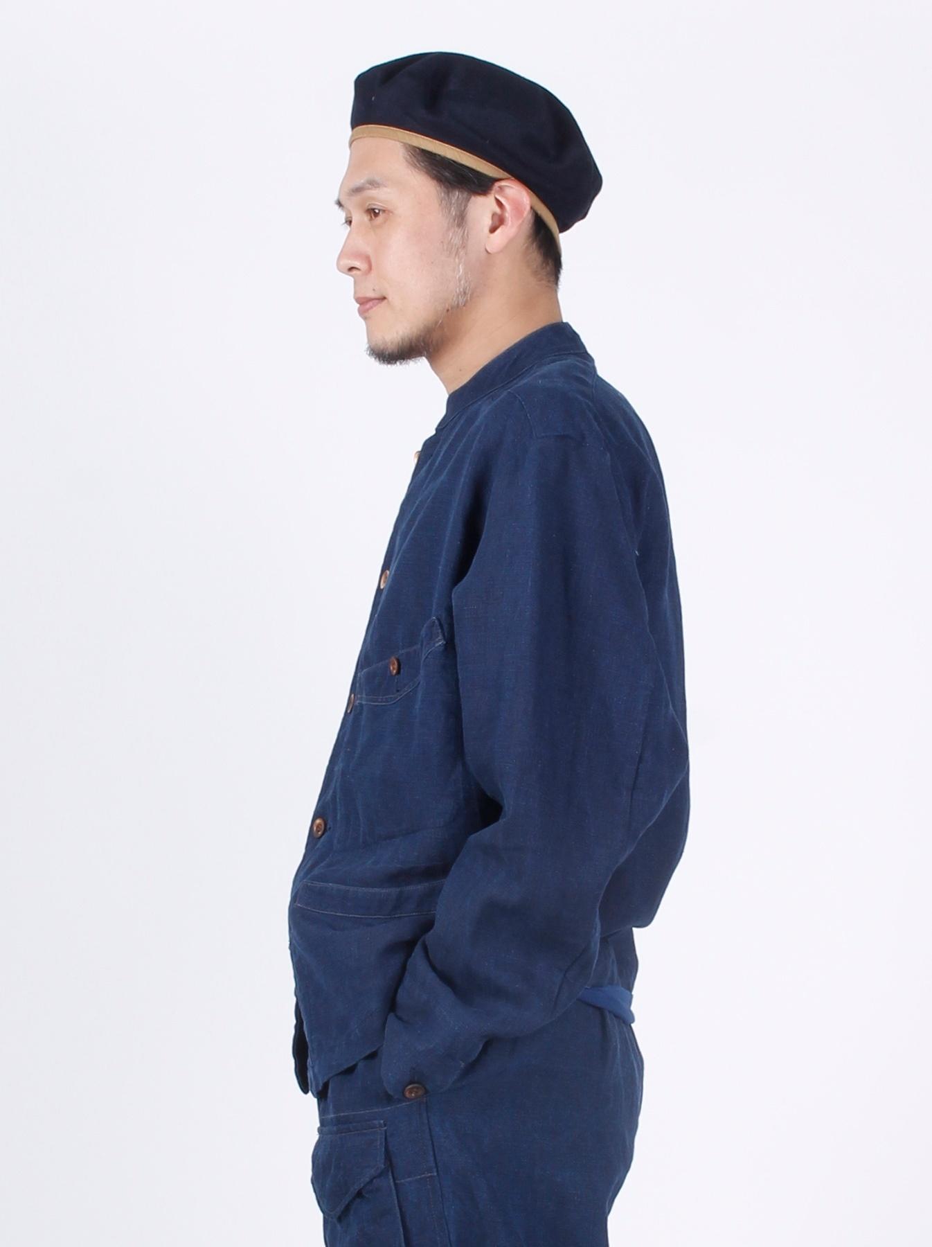 WH Indigo Linen Stand Collar Jacket-4
