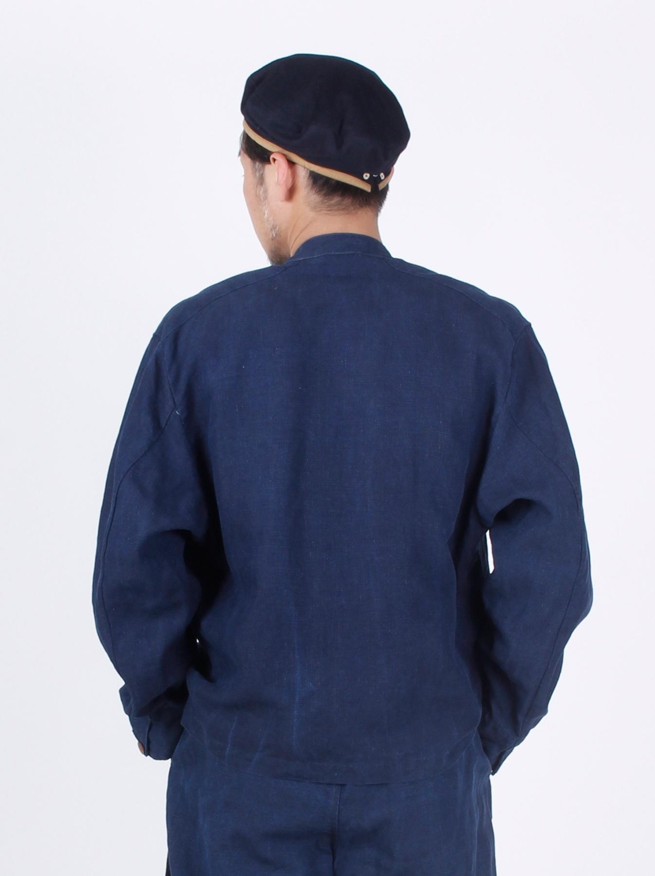 WH Indigo Linen Stand Collar Jacket-5