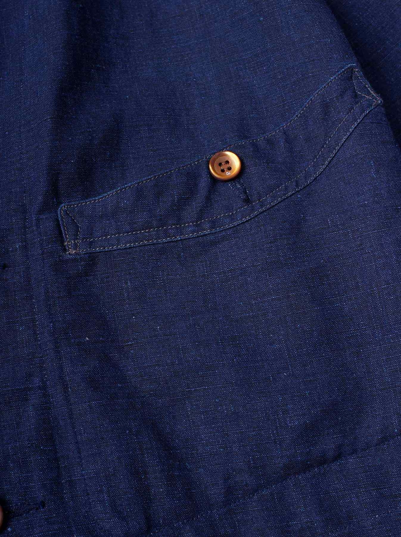 WH Indigo Linen Stand Collar Jacket-9