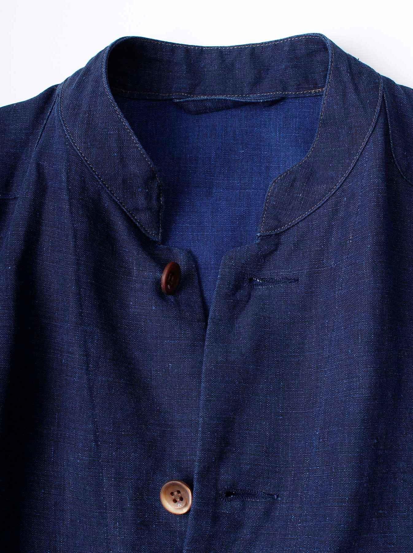 WH Indigo Linen Stand Collar Jacket-6
