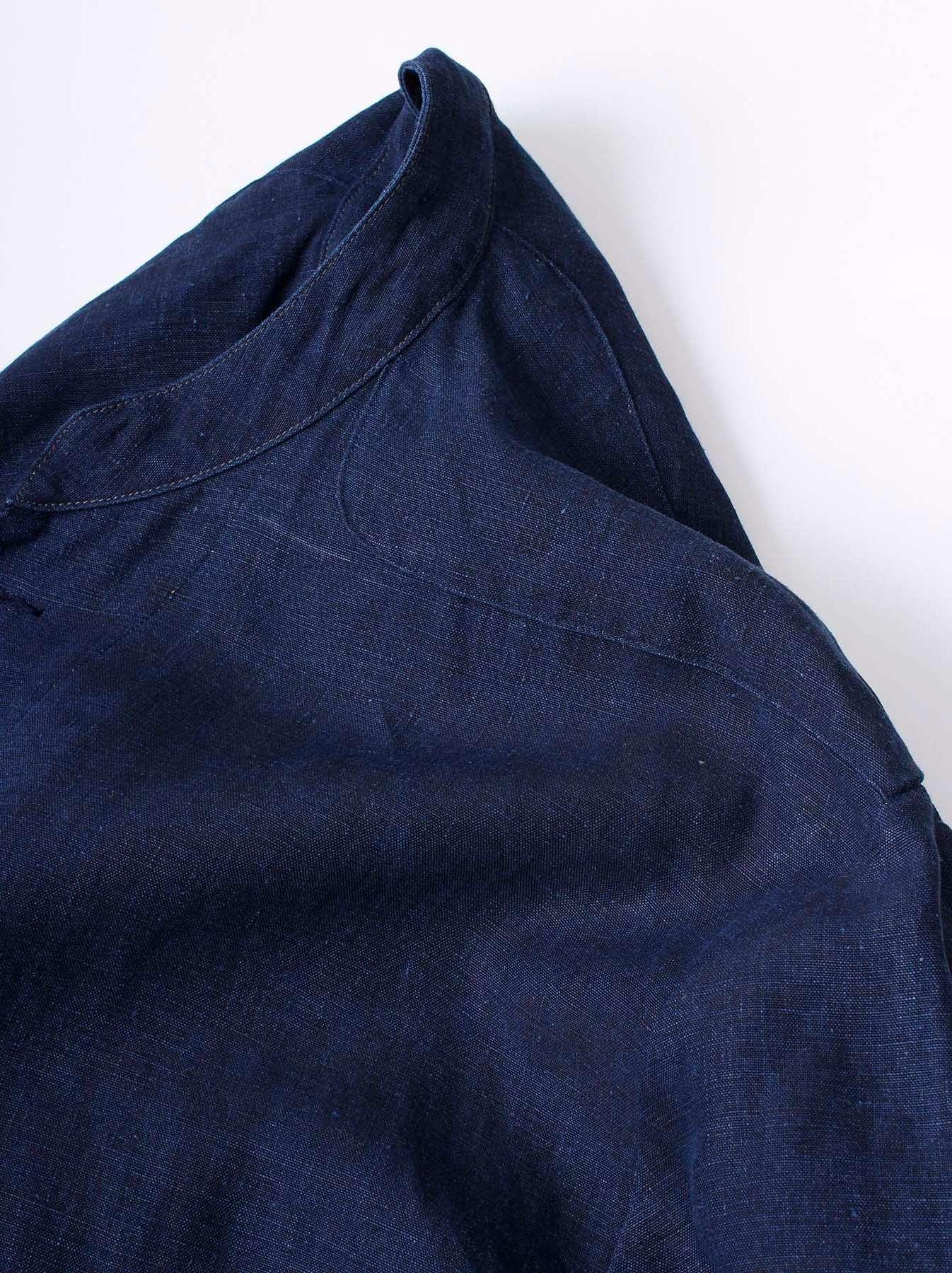 WH Indigo Linen Stand Collar Jacket-8