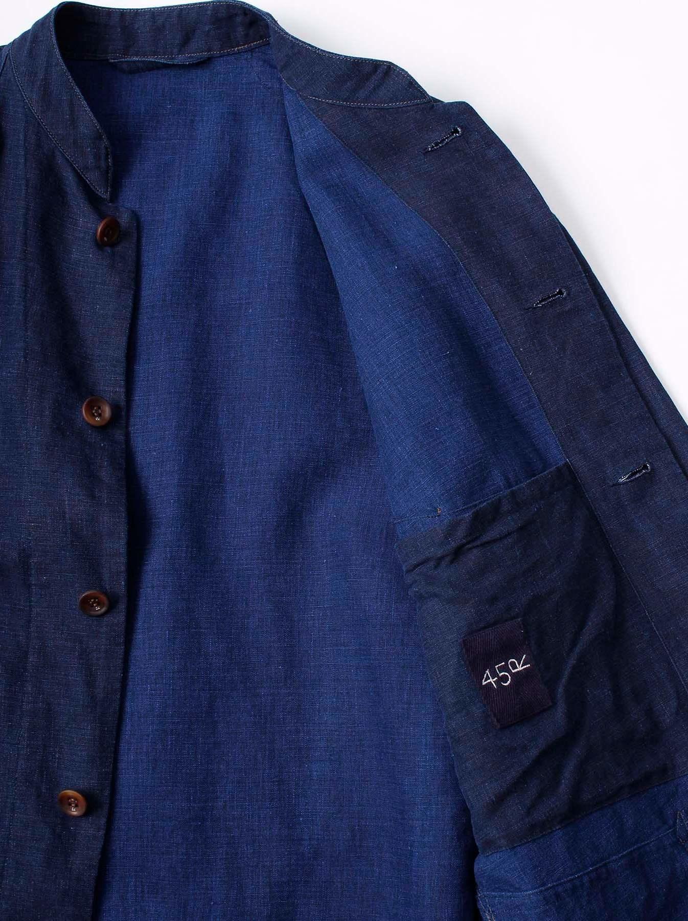 WH Indigo Linen Stand Collar Jacket-7