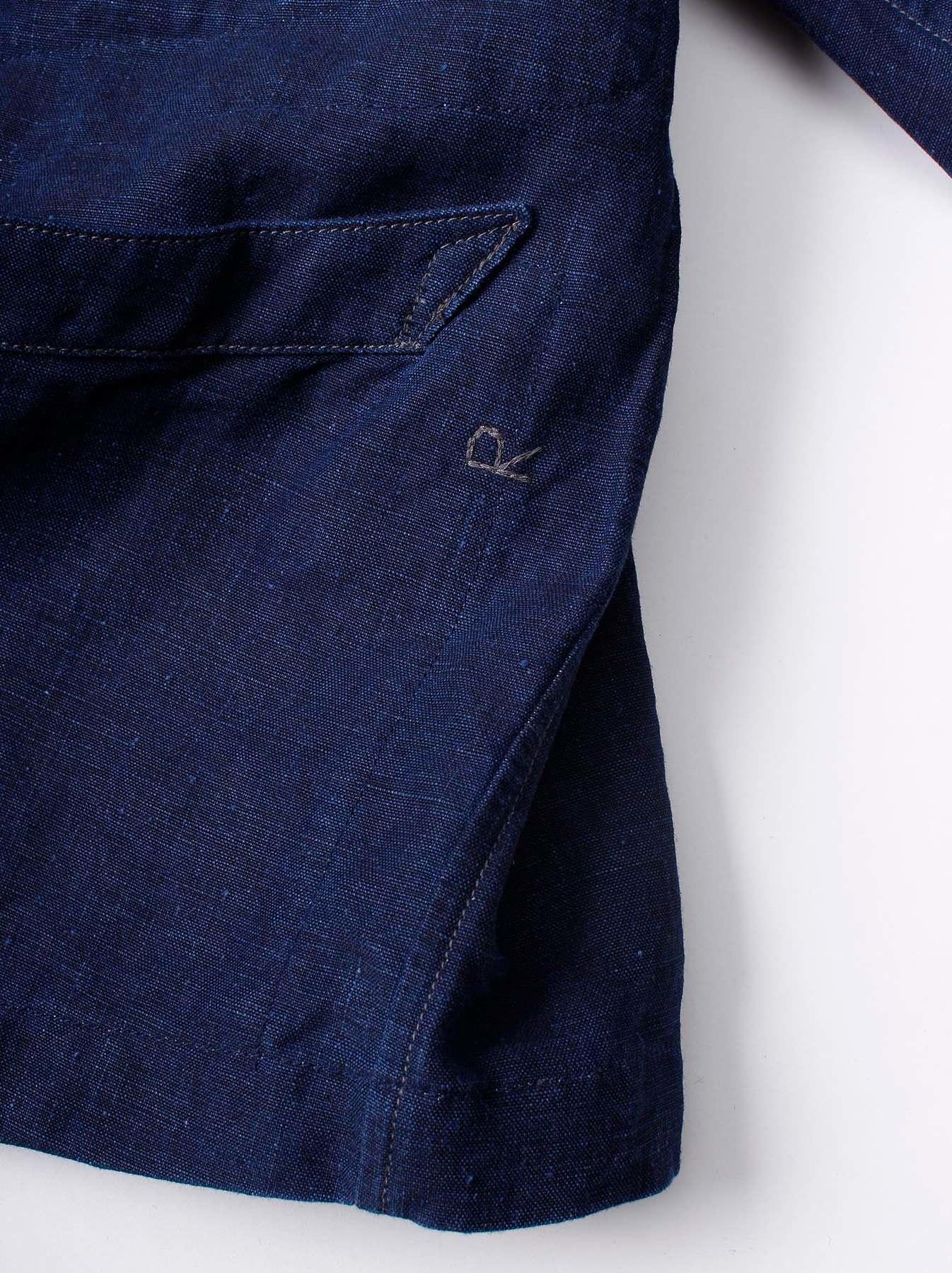 WH Indigo Linen Stand Collar Jacket-10