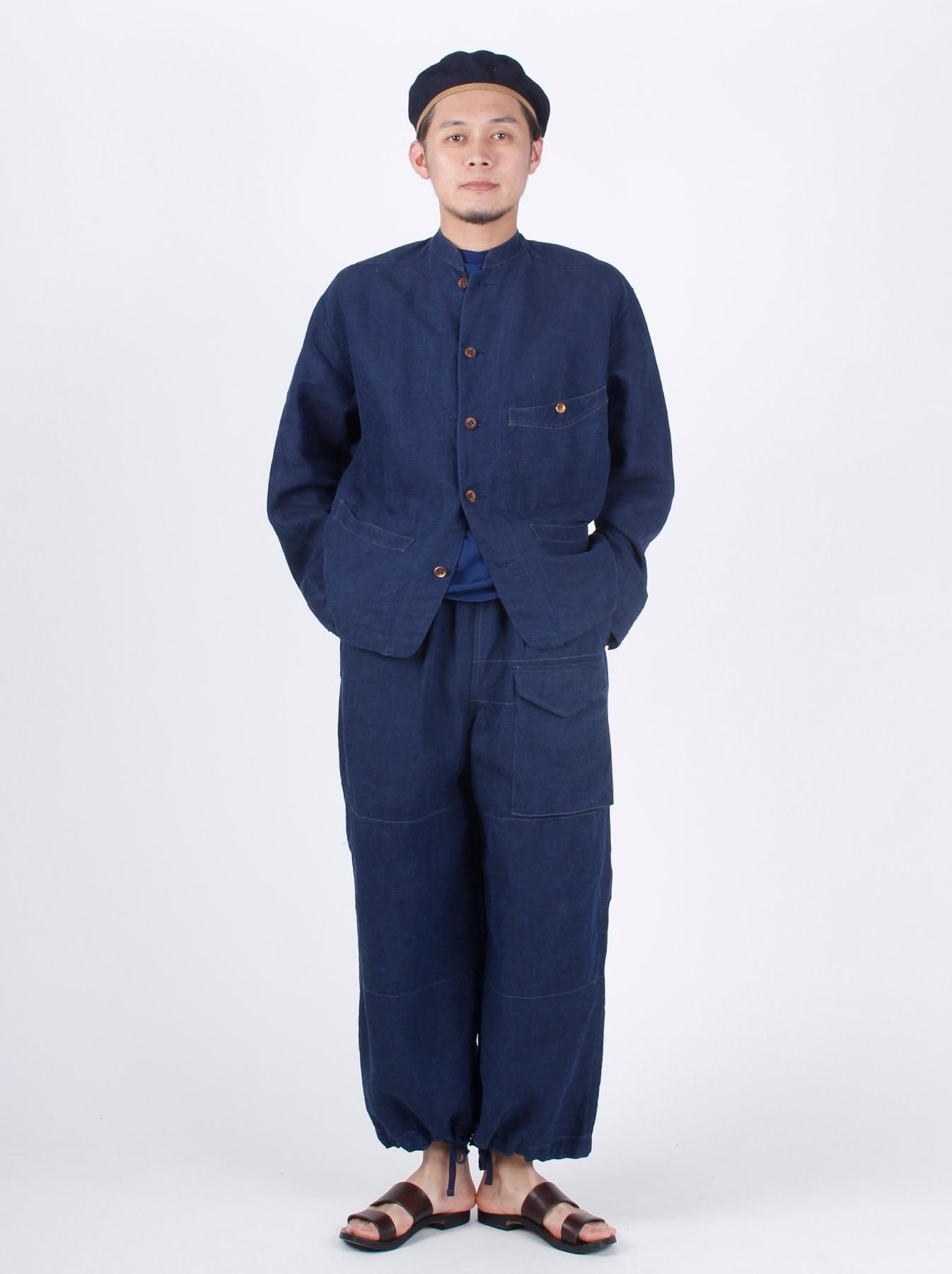 WH Indigo Linen Stand Collar Jacket-2