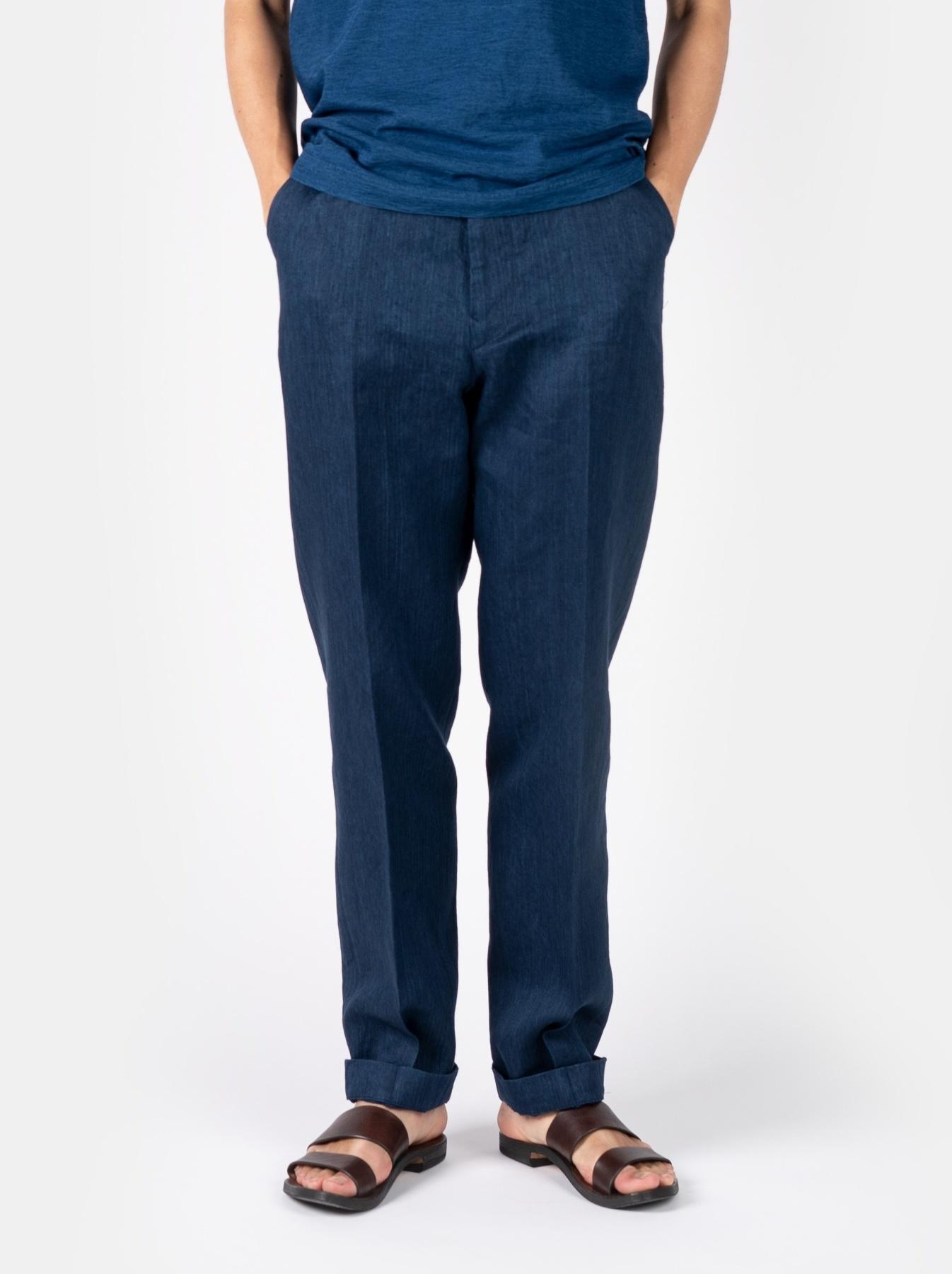 WH Indigo Linen Easy Slacks-3