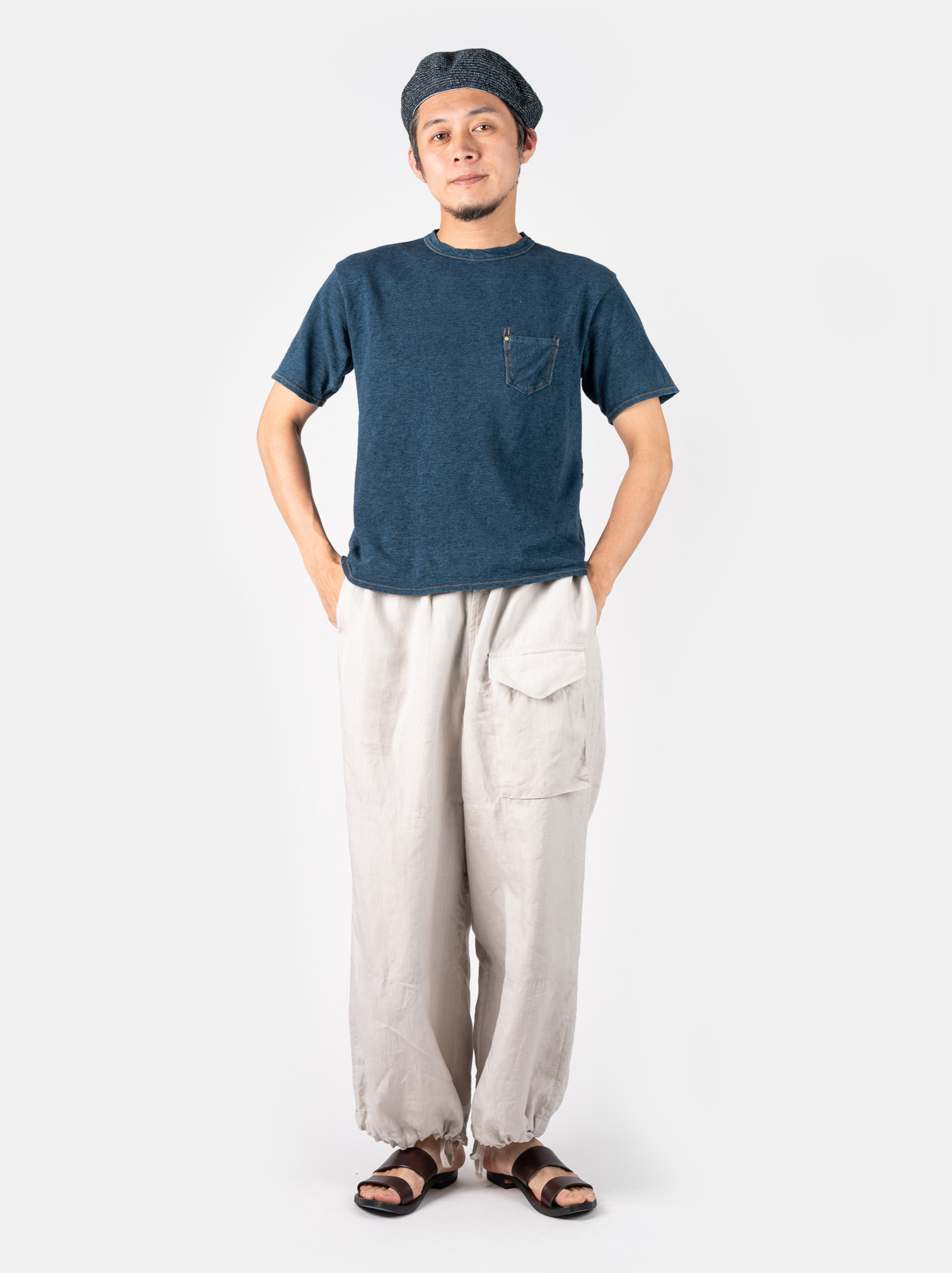 WH Indigo Plating Tenjiku T-shirt Distressed-2