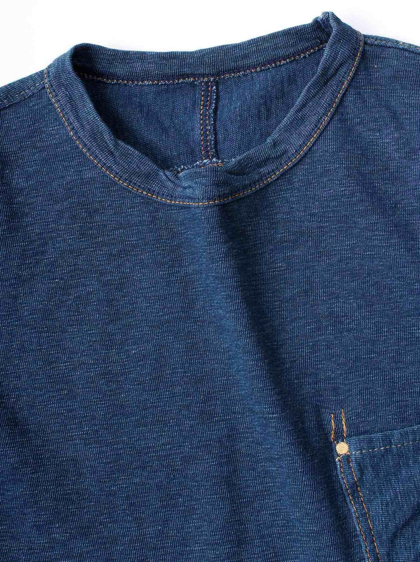 WH Indigo Plating Tenjiku T-shirt Distressed-6
