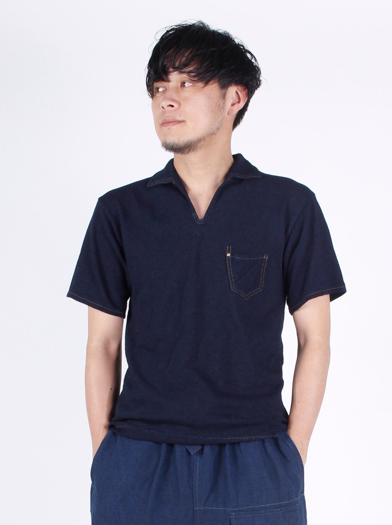 WH Indigo Plating Tenjiku Polo Shirt-3