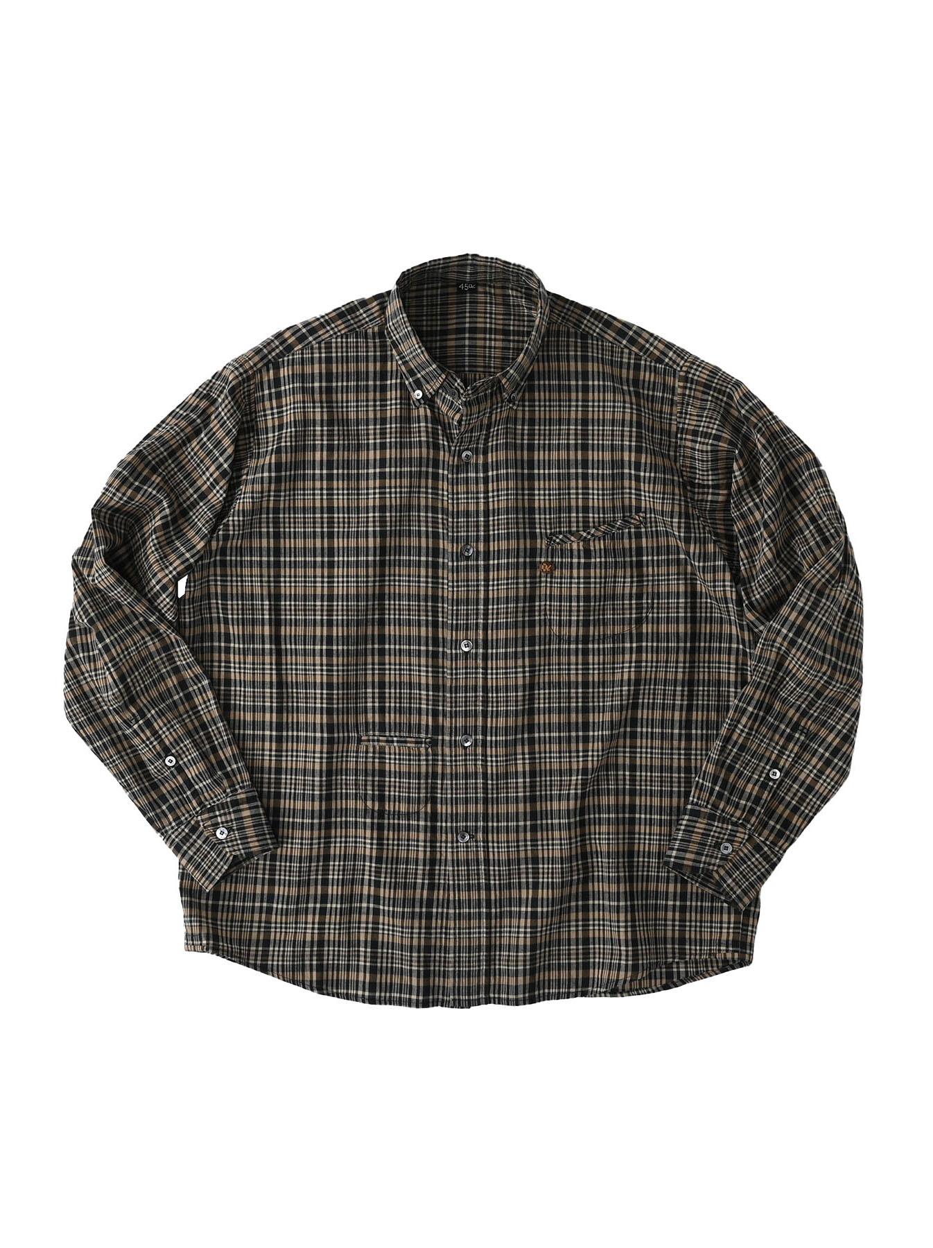 Indian Mugi-hira 908 Ocean Button Down Shirt (0421)-1