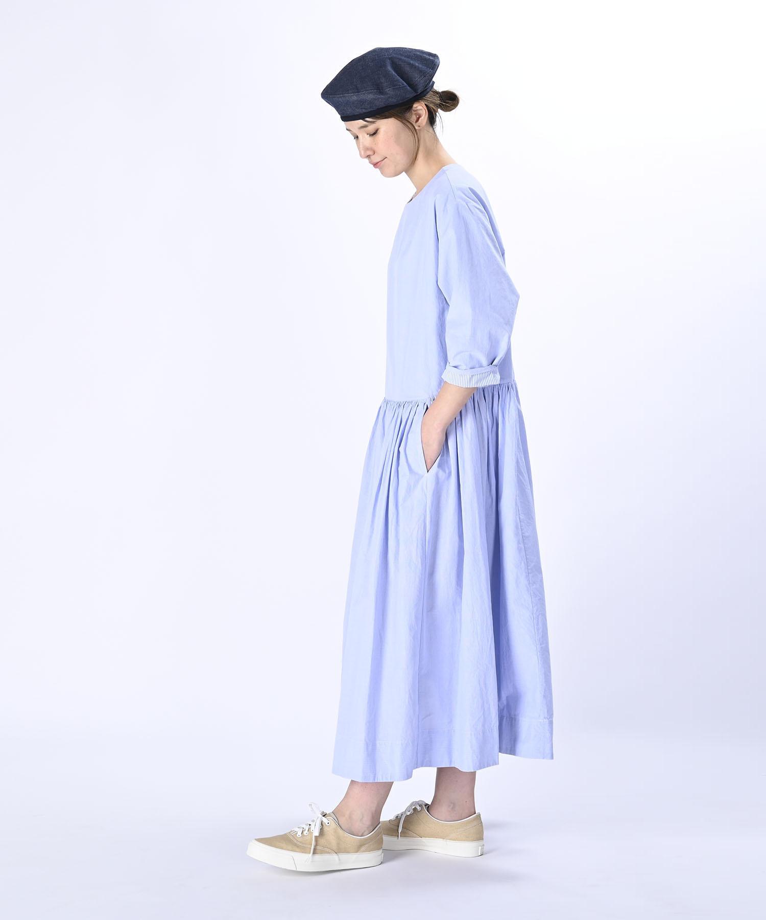 Damp Yarn Dyed Musou Dress Blue (0421)-4