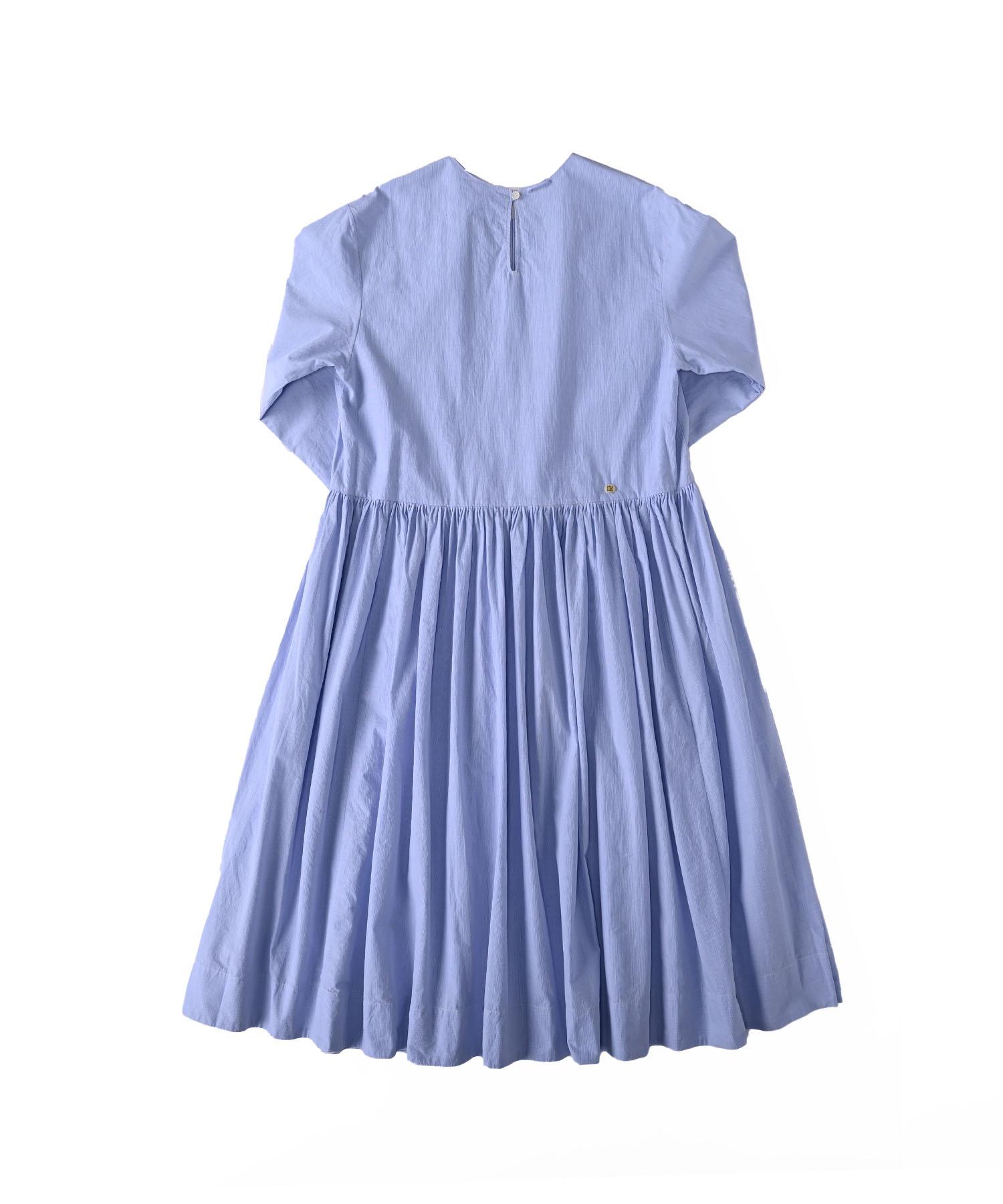 Damp Yarn Dyed Musou Dress Blue (0421)-6