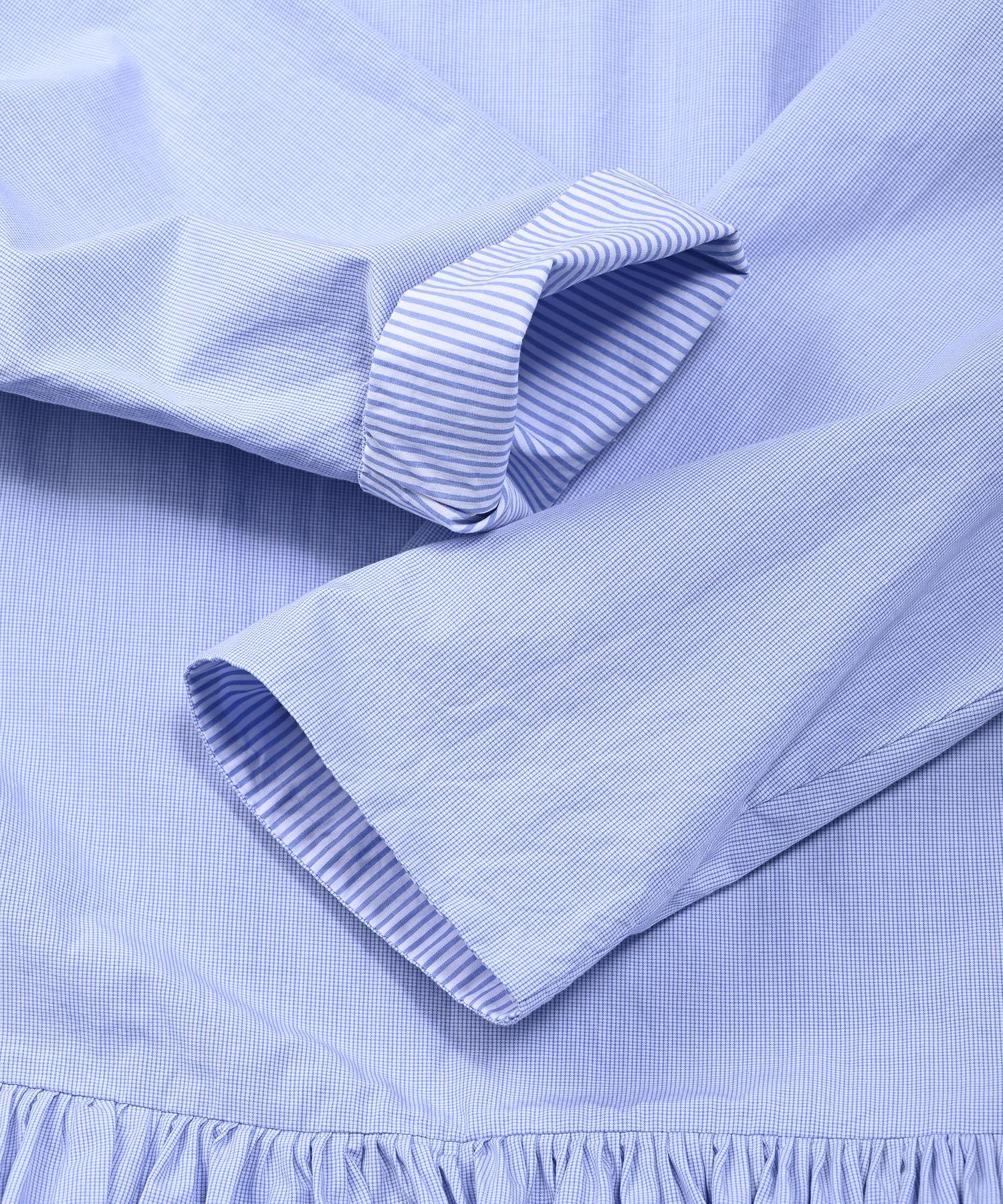 Damp Yarn Dyed Musou Dress Blue (0421)-11