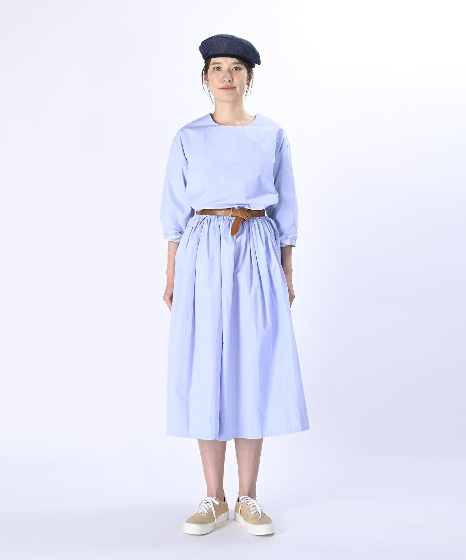 Damp Yarn Dyed Musou Dress Blue (0421)-2