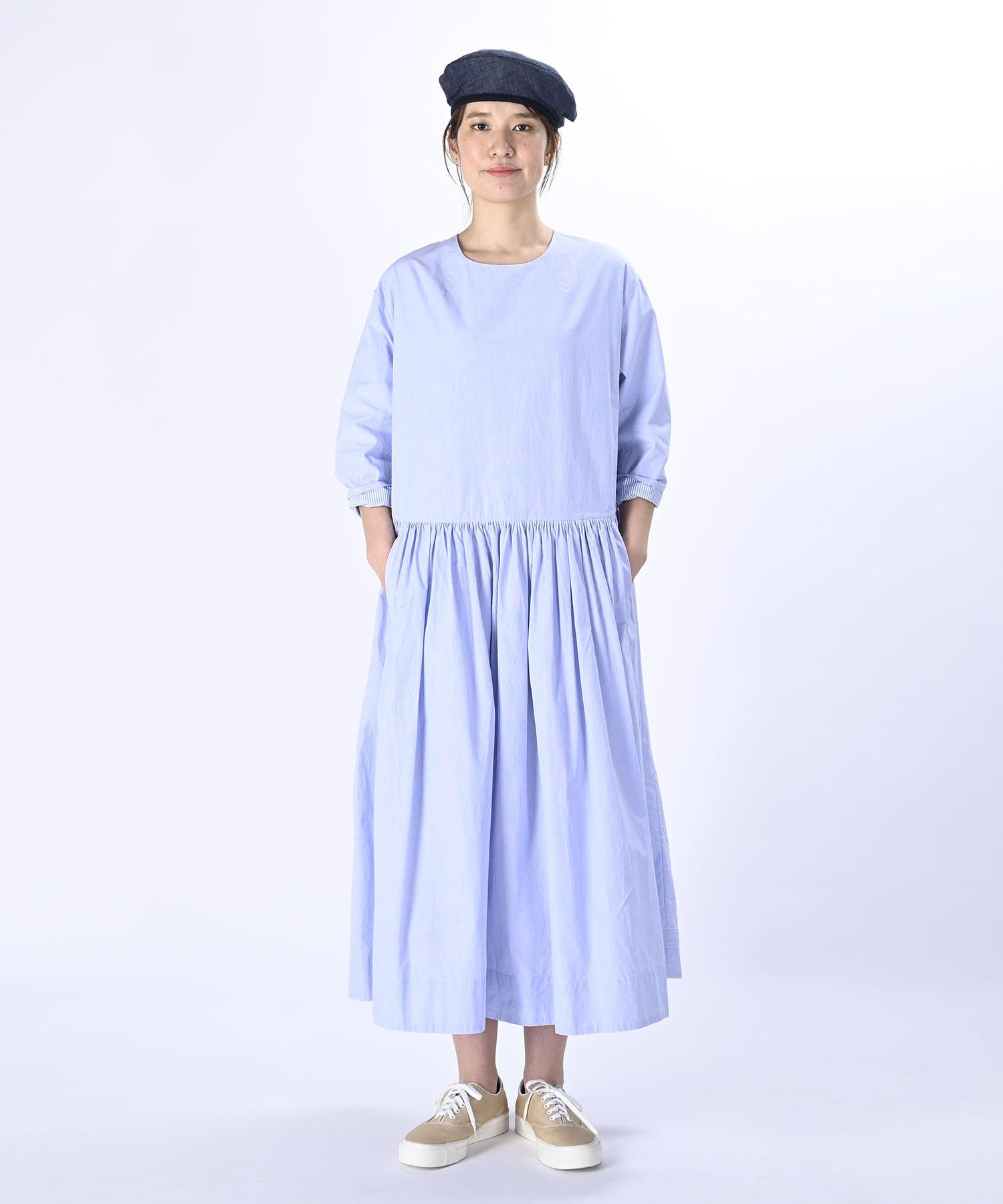 Damp Yarn Dyed Musou Dress Blue (0421)-3