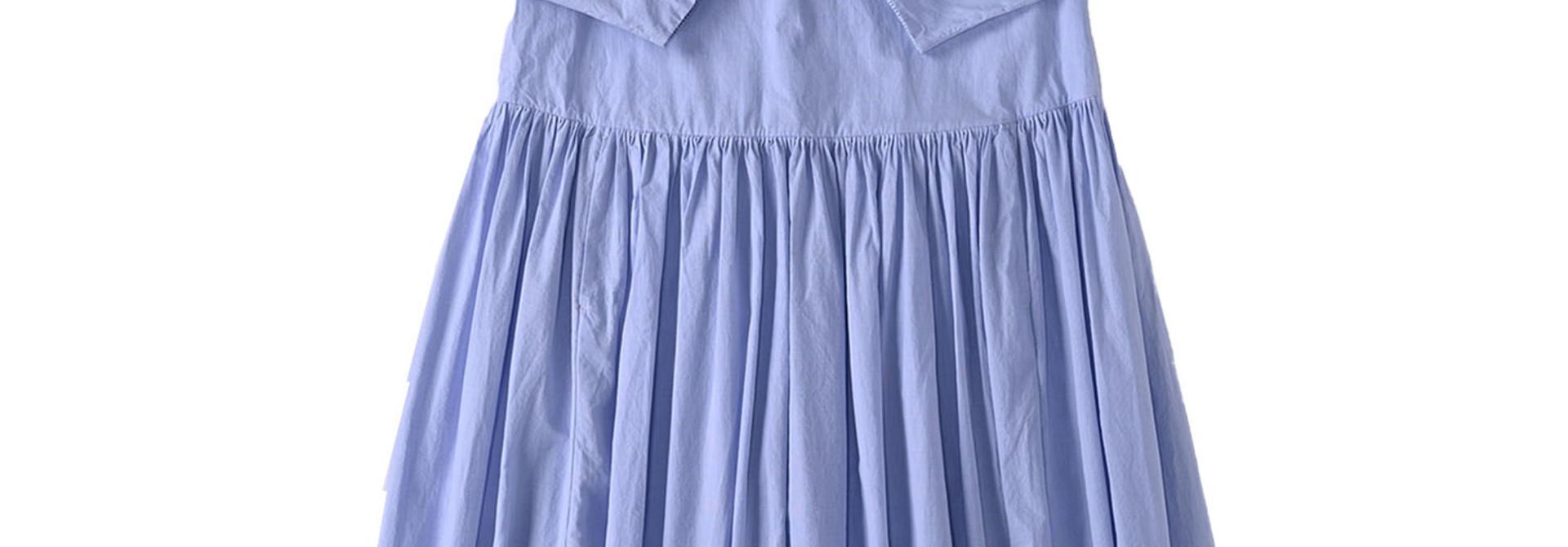 Damp Yarn Dyed Musou Dress Blue (0421)
