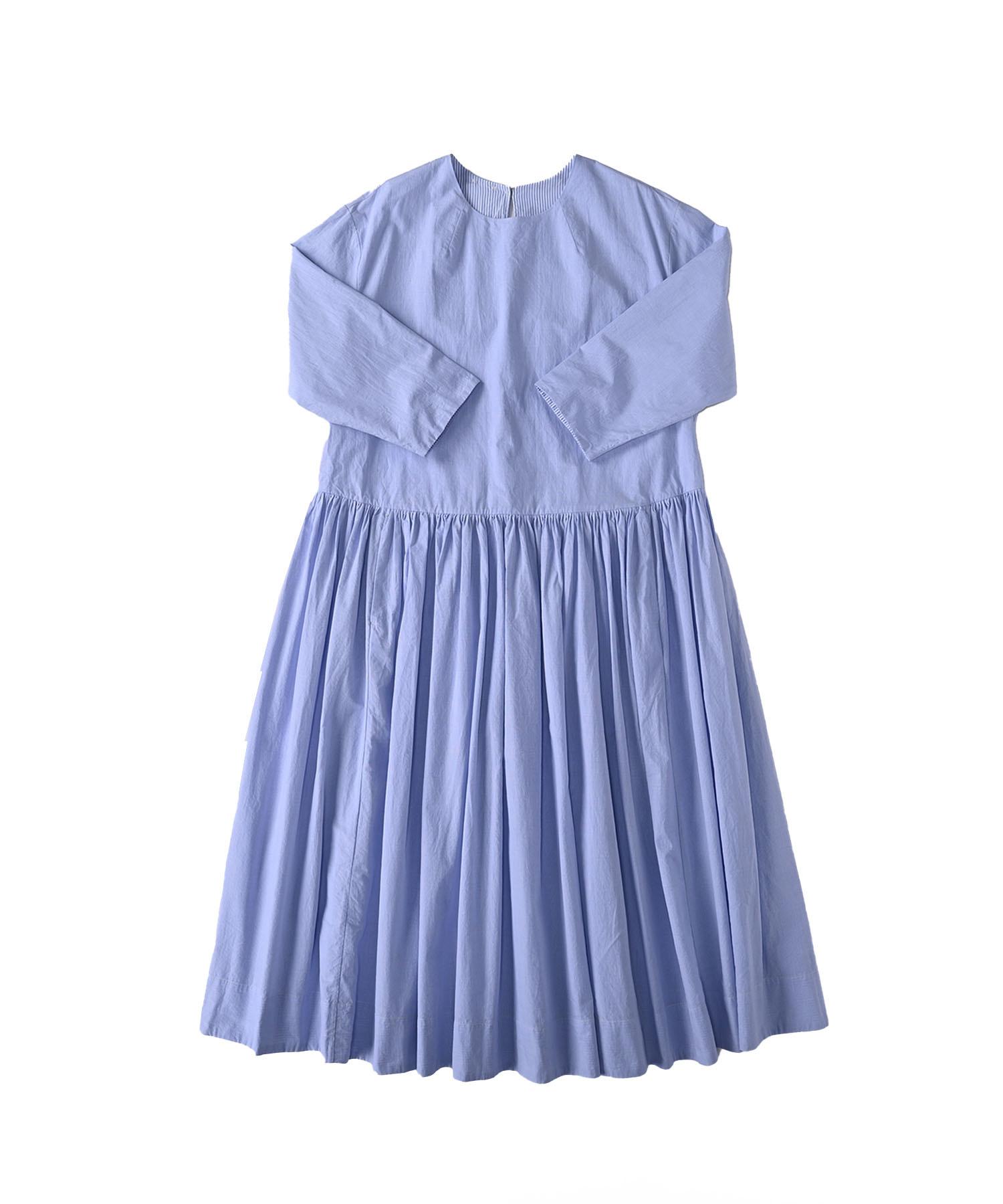 Damp Yarn Dyed Musou Dress Blue (0421)-1