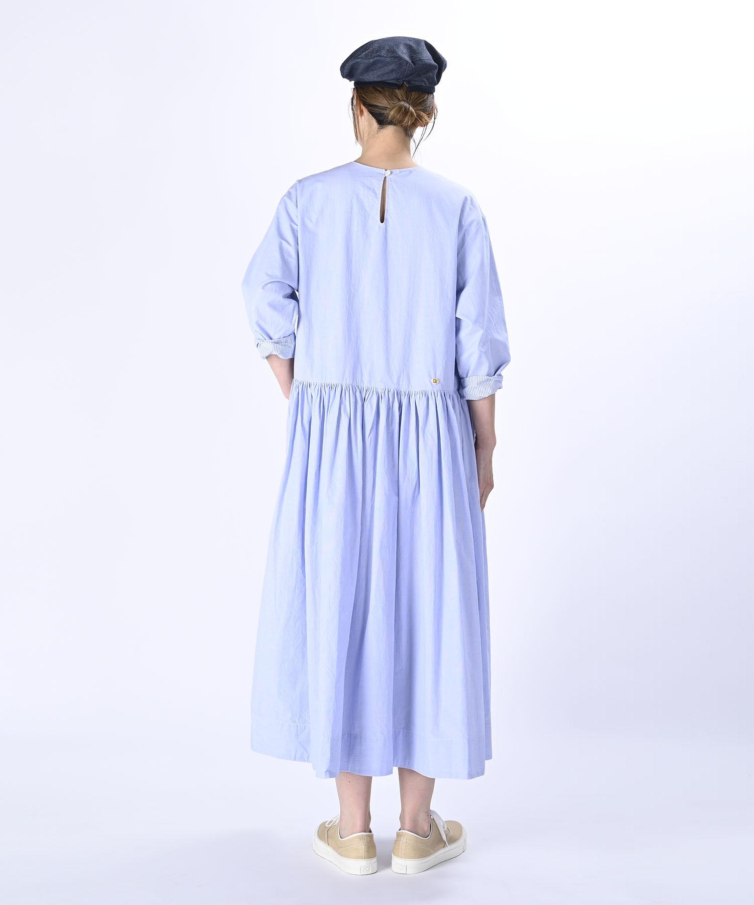 Damp Yarn Dyed Musou Dress Blue (0421)-5