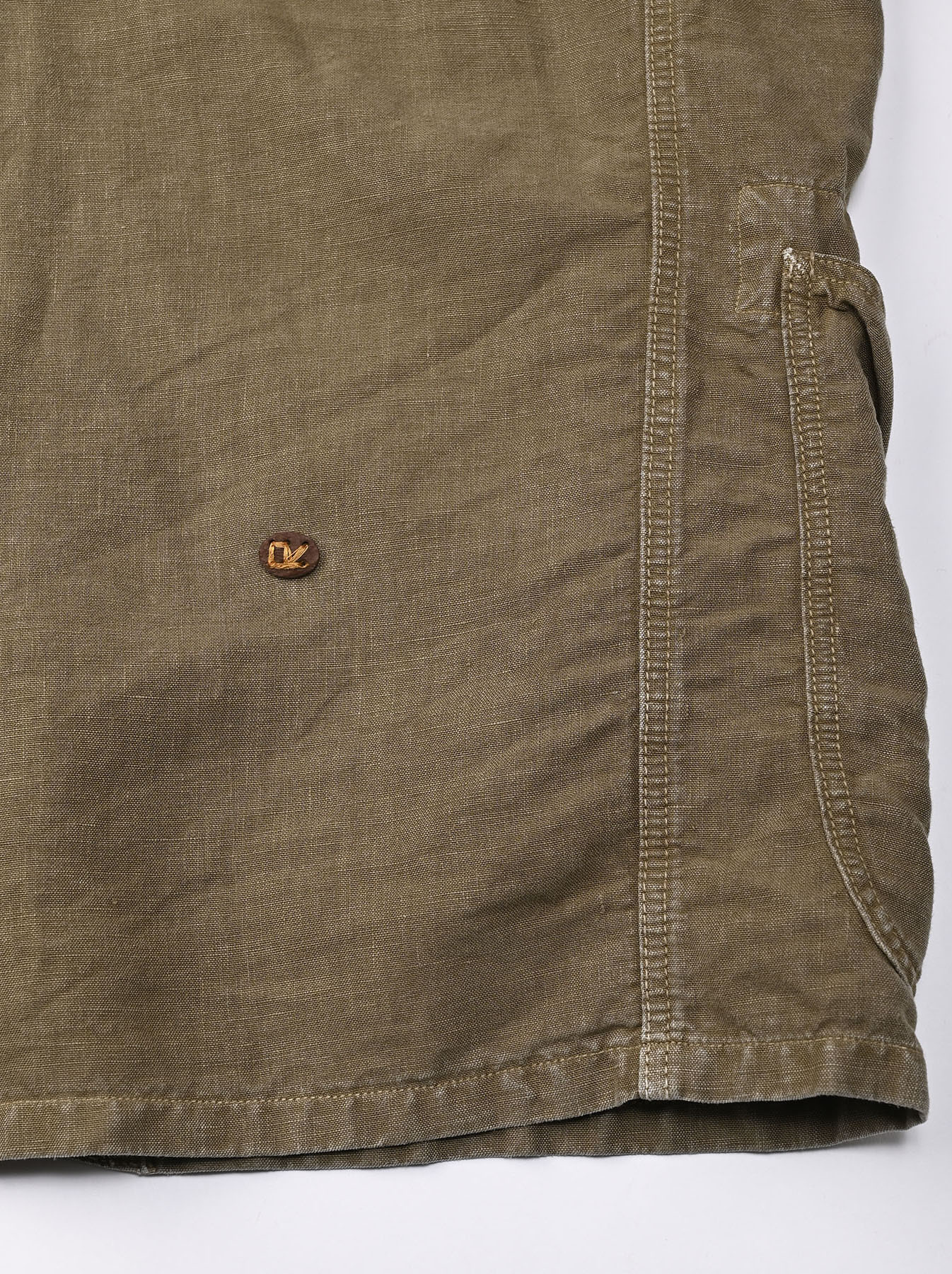 Linen Post Dyed 908 V-neck  Coverall (0421)-8