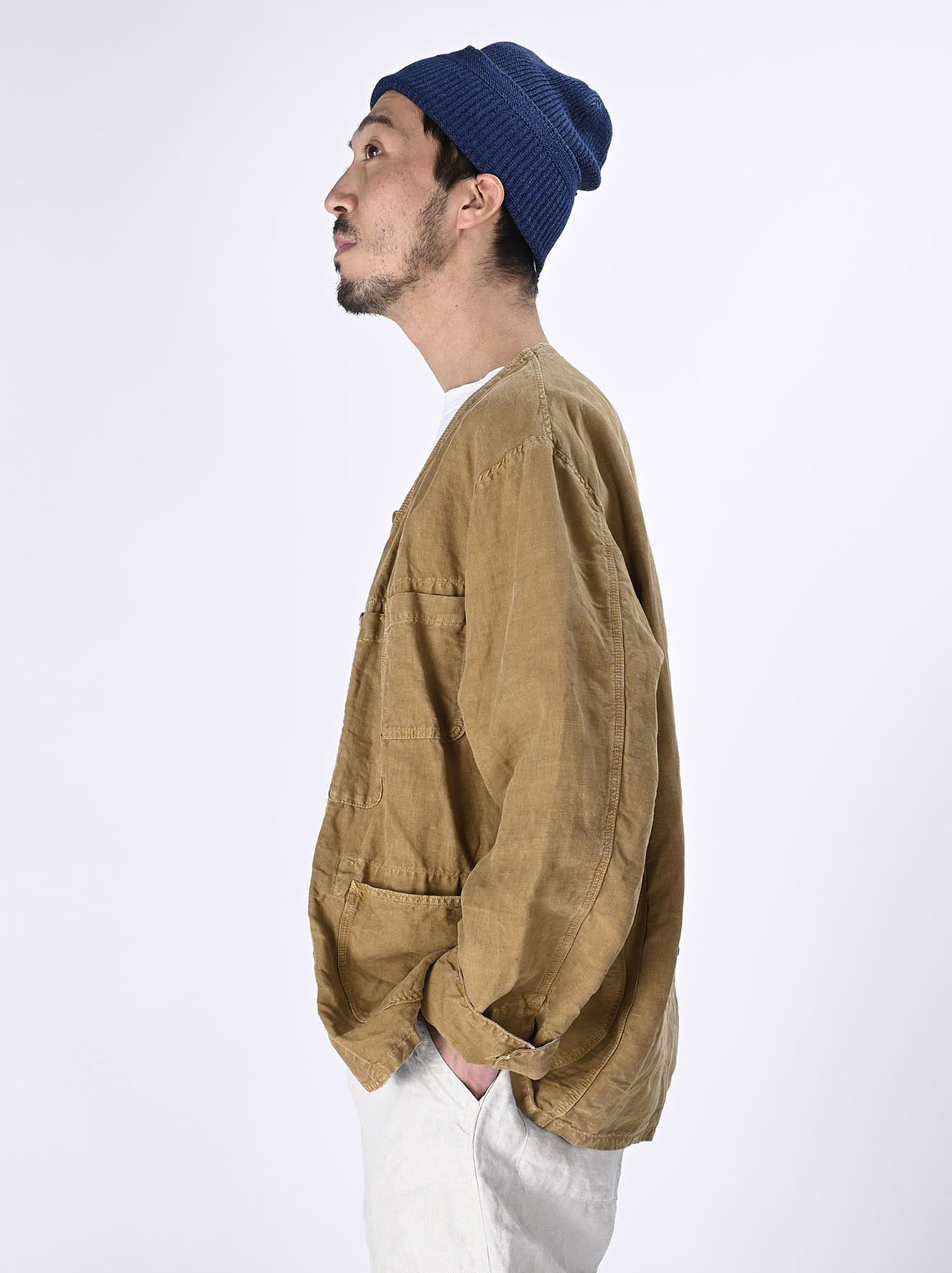 Linen Post Dyed 908 V-neck  Coverall (0421)-3