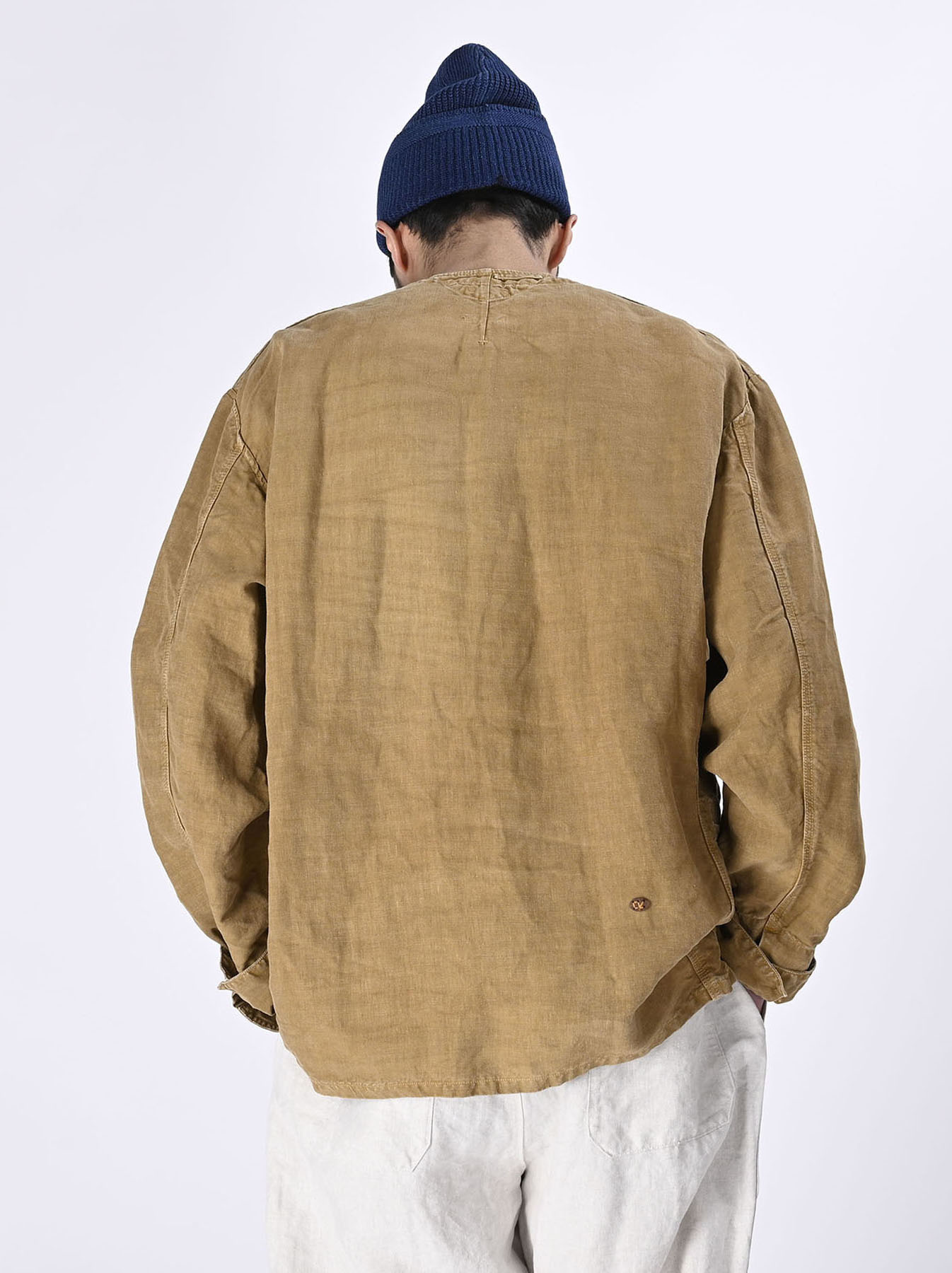 Linen Post Dyed 908 V-neck  Coverall (0421)-4