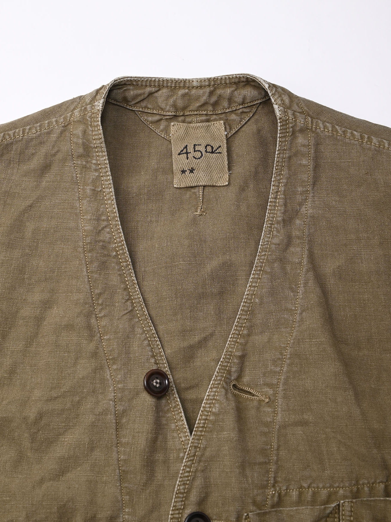 Linen Post Dyed 908 V-neck  Coverall (0421)-9