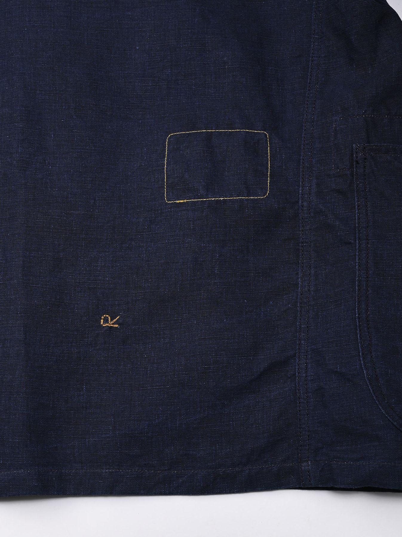 Indigo Linen 908 V-neck Coverall (0421)-8