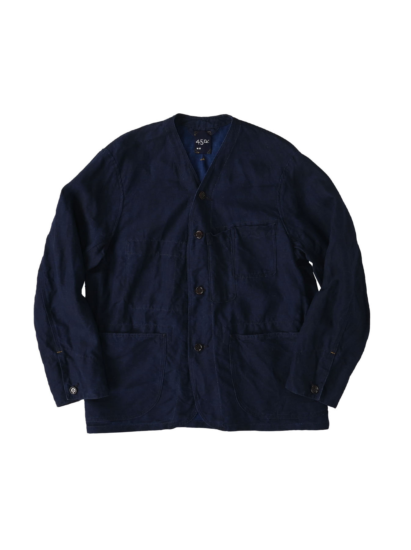 Indigo Linen 908 V-neck Coverall (0421)-1