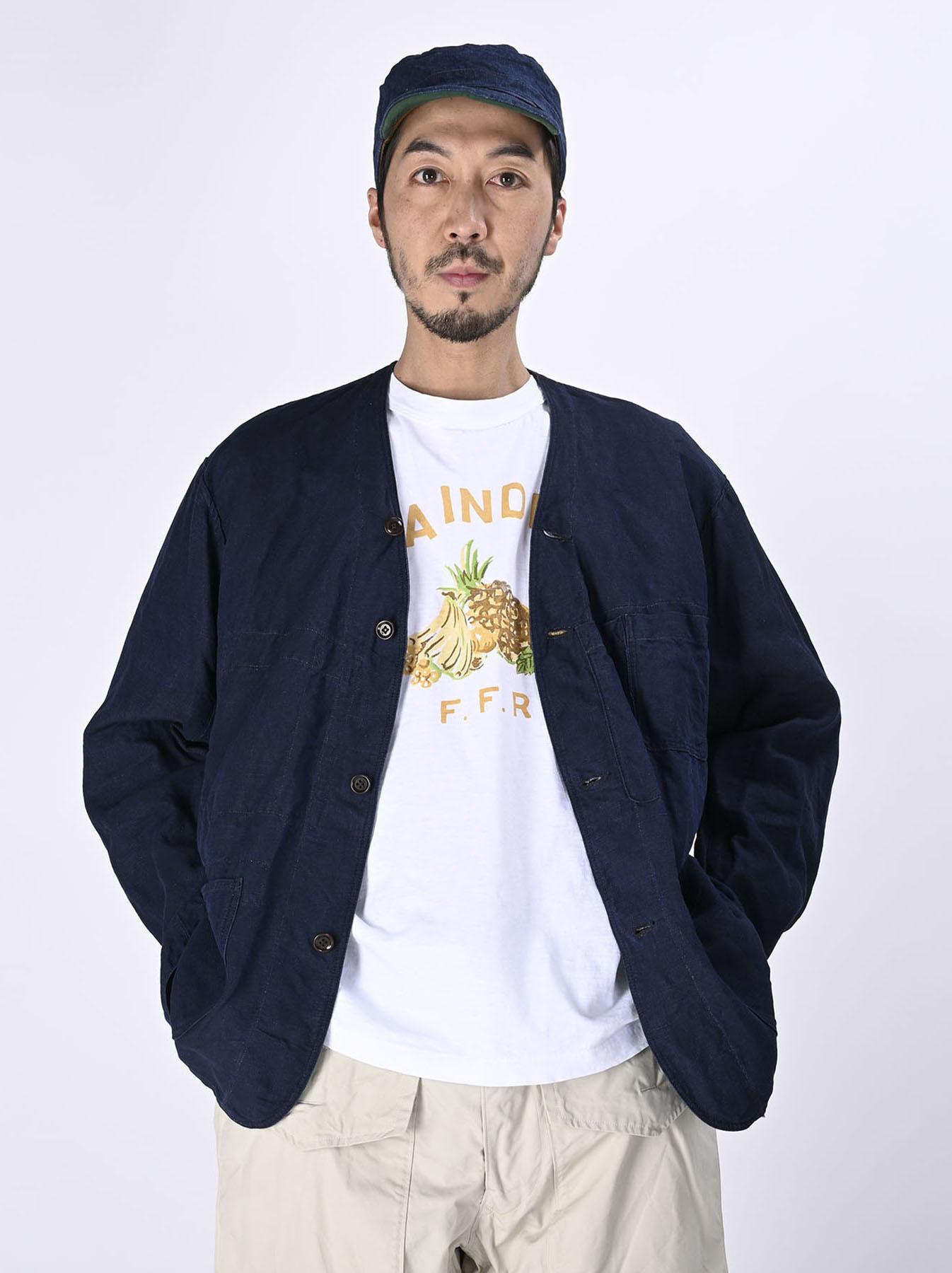 Indigo Linen 908 V-neck Coverall (0421)-3