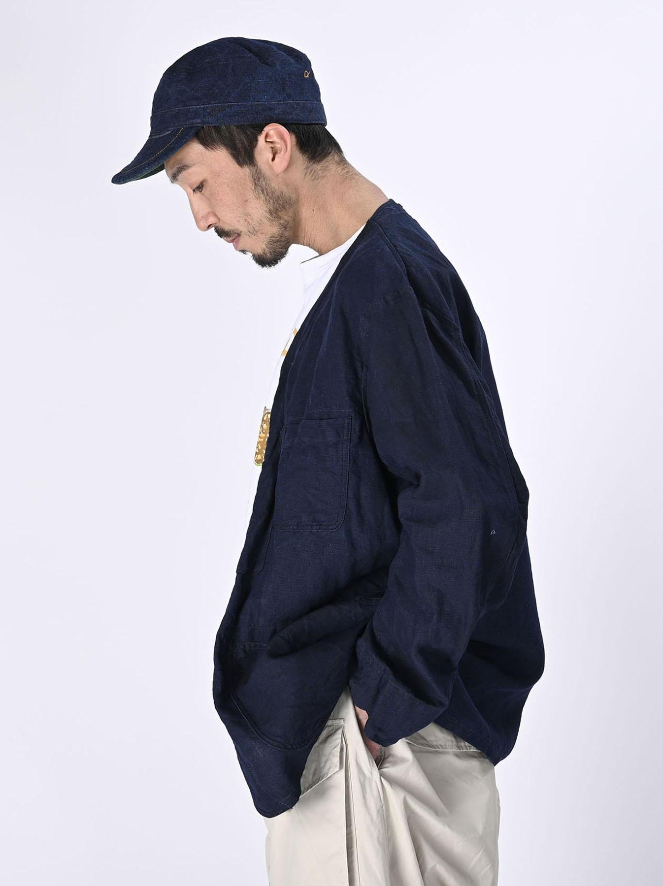 Indigo Linen 908 V-neck Coverall (0421)-4