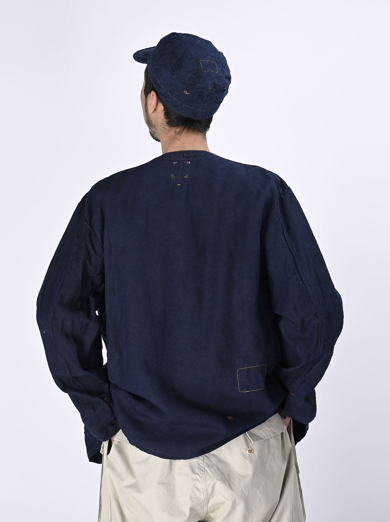 Indigo Linen 908 V-neck Coverall (0421)-5